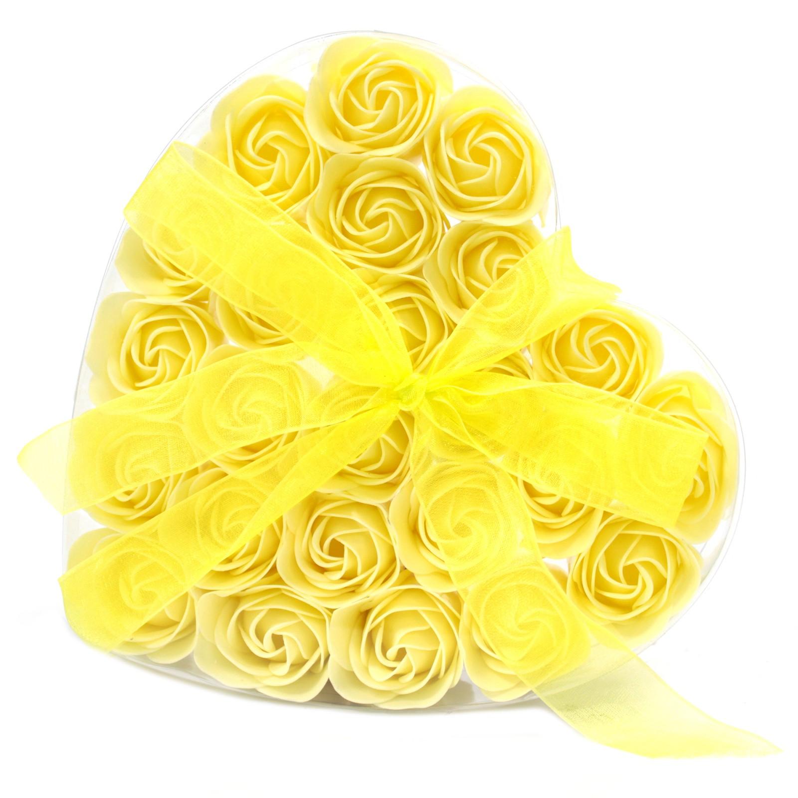 Set of 24 Soap Flower Heart Box Yellow Roses