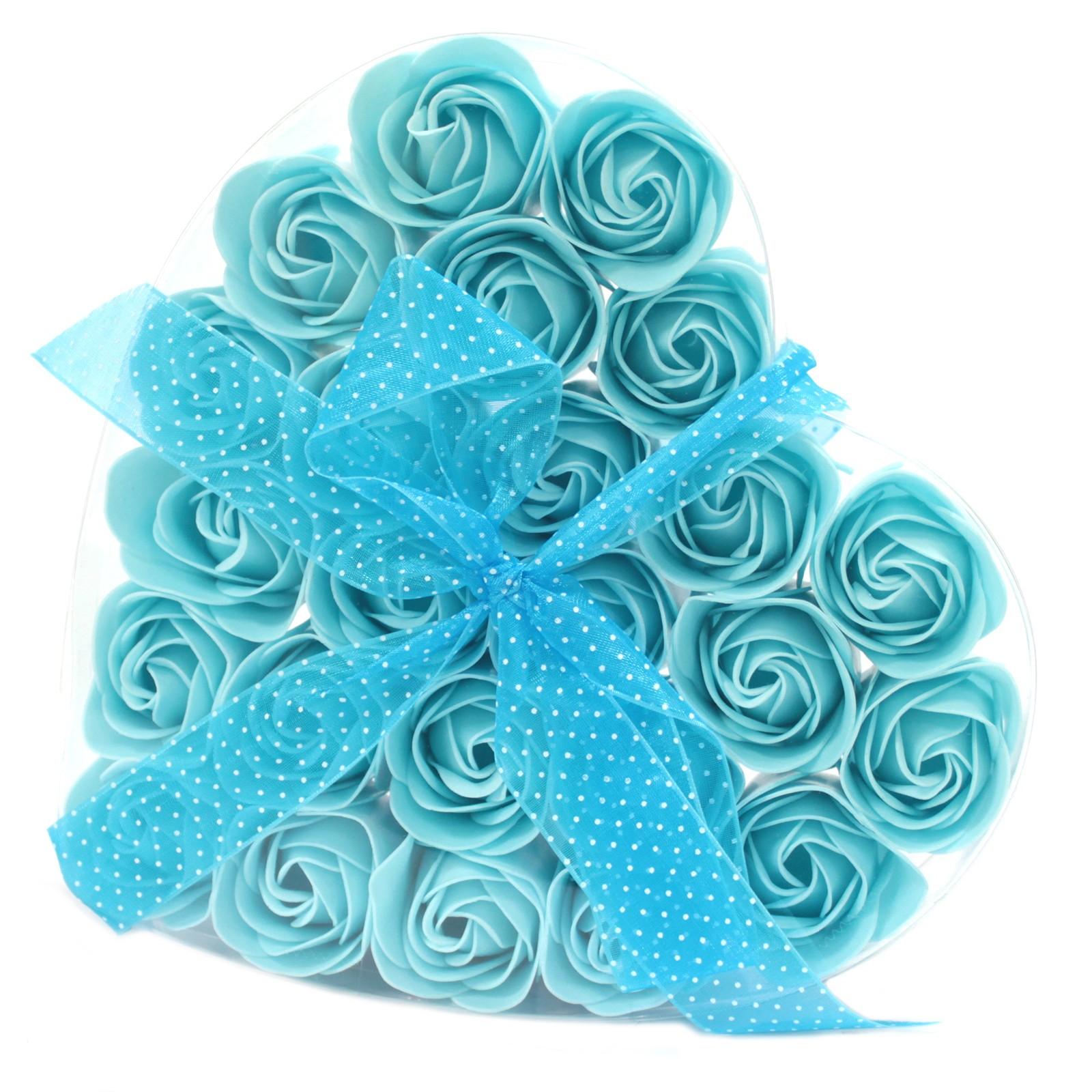 Set of 24 Soap Flower Heart Box Blue Roses