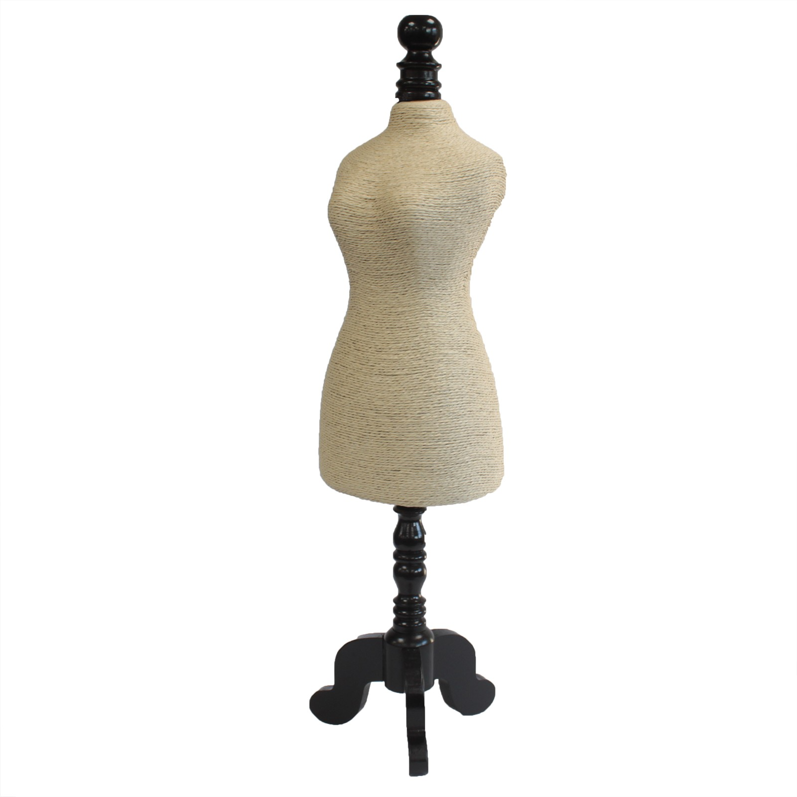 Natural Jewellery Display Mannequin on Wooden Stand Cream