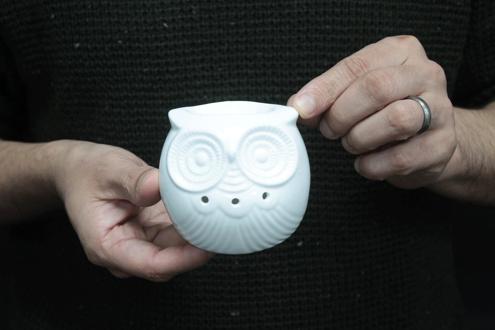 Classic White Oil Burner Short Owl
