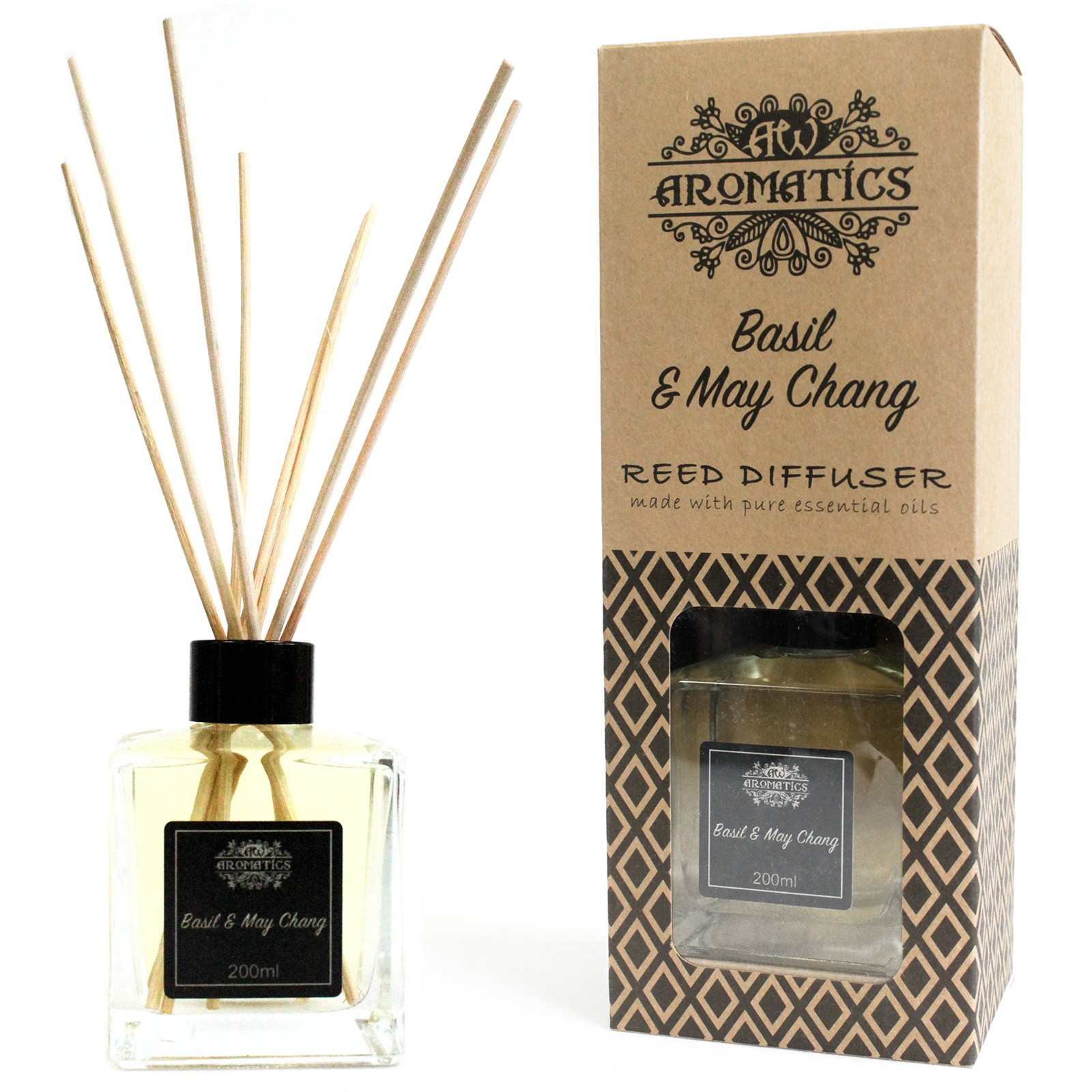 200ml Basil and Maychang Essential Oil Reed Diffuser