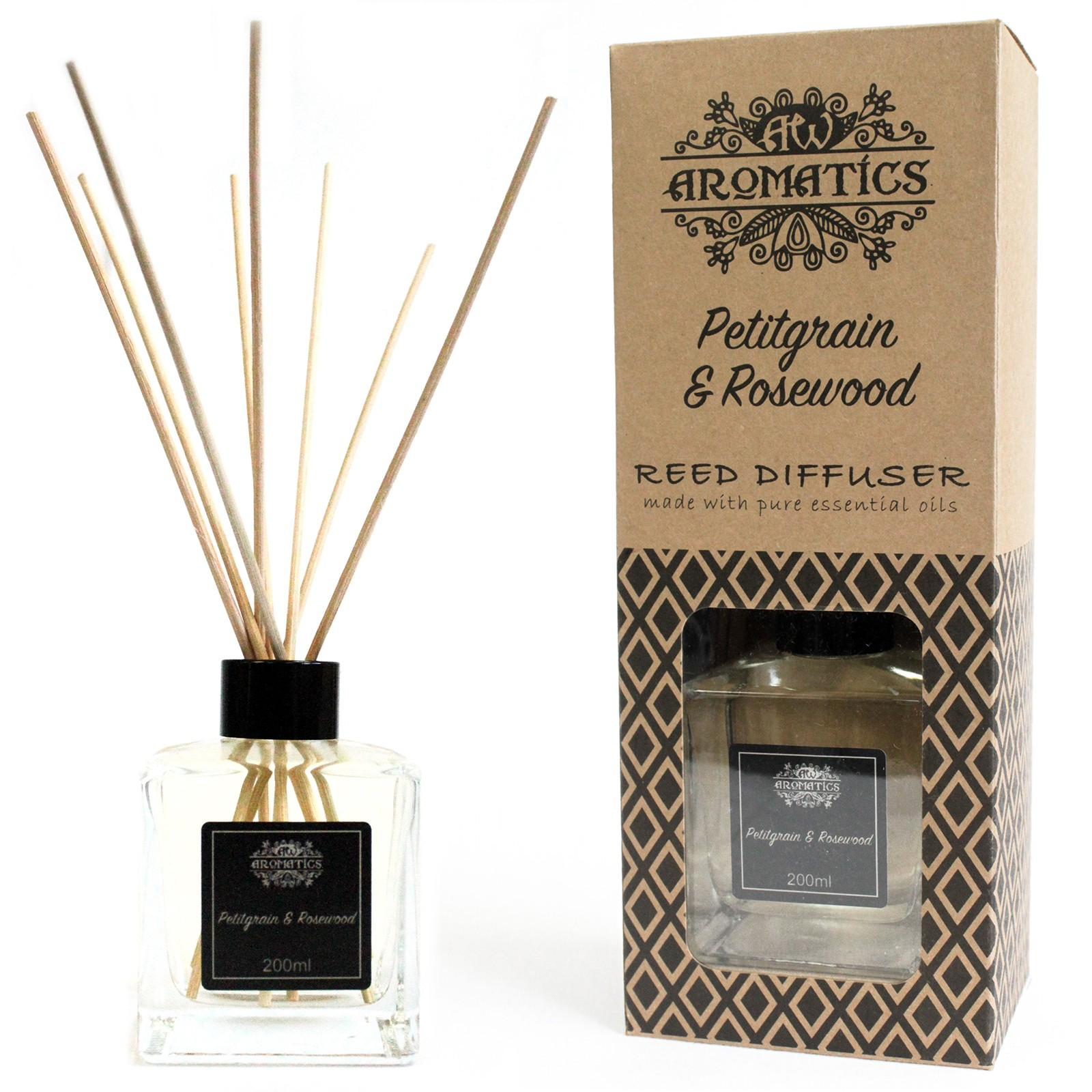200ml Petitgrain and Rosewood Essential Oil Reed Diffuser