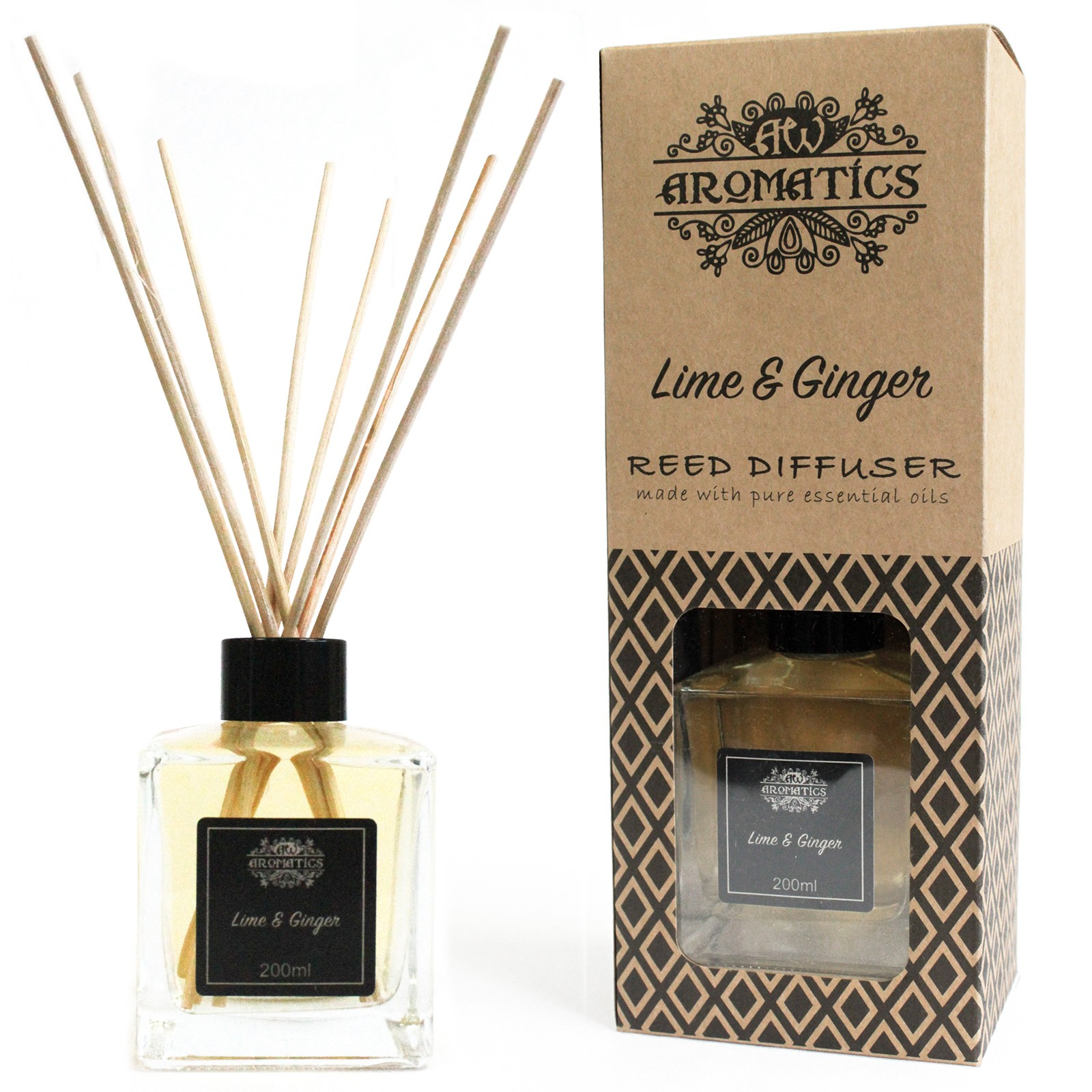 200ml Lime and Ginger Essential Oil Reed Diffuser