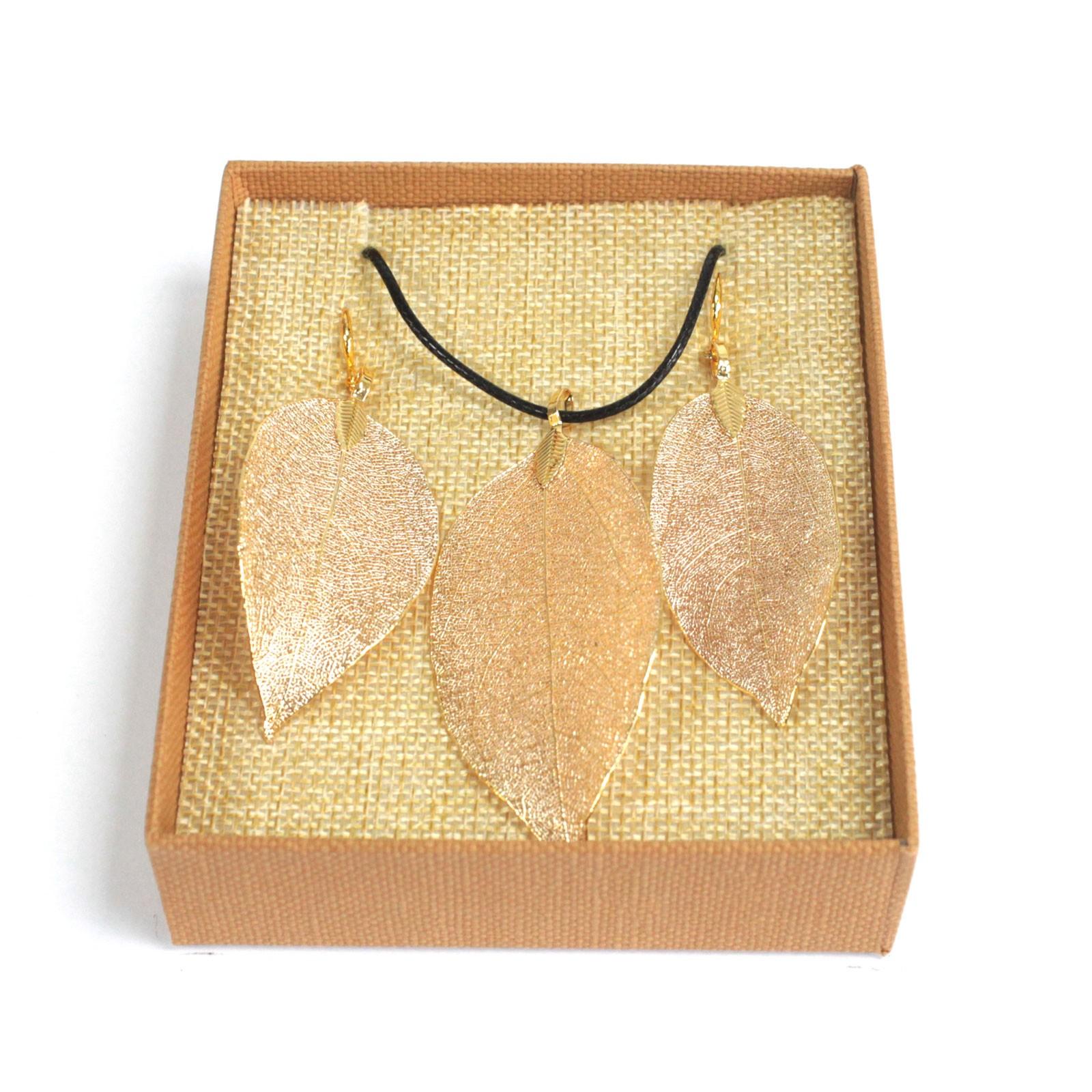 Necklace  Earring Set Bravery Leaf Gold