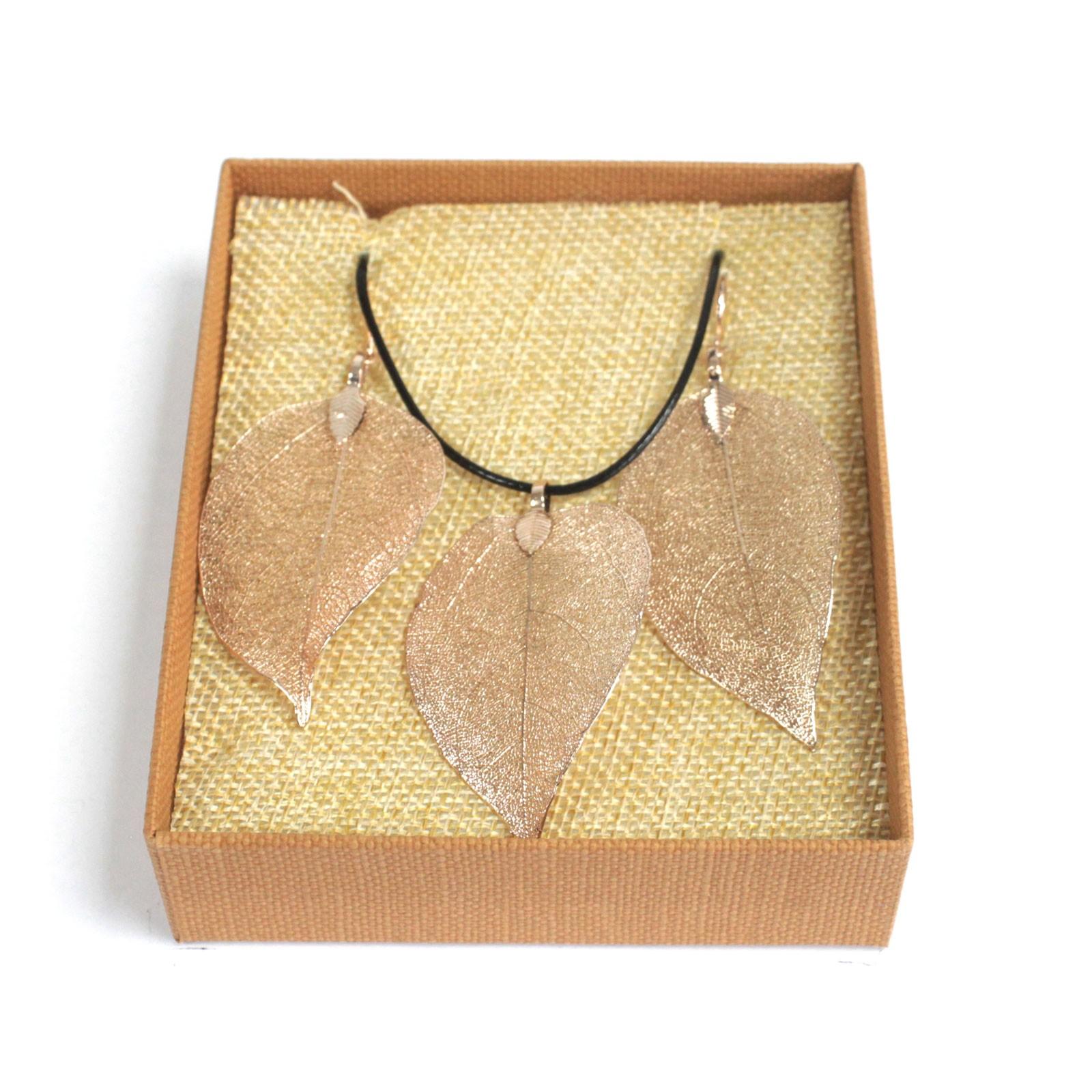 Necklace  Earring Set Bravery Leaf Pink Gold