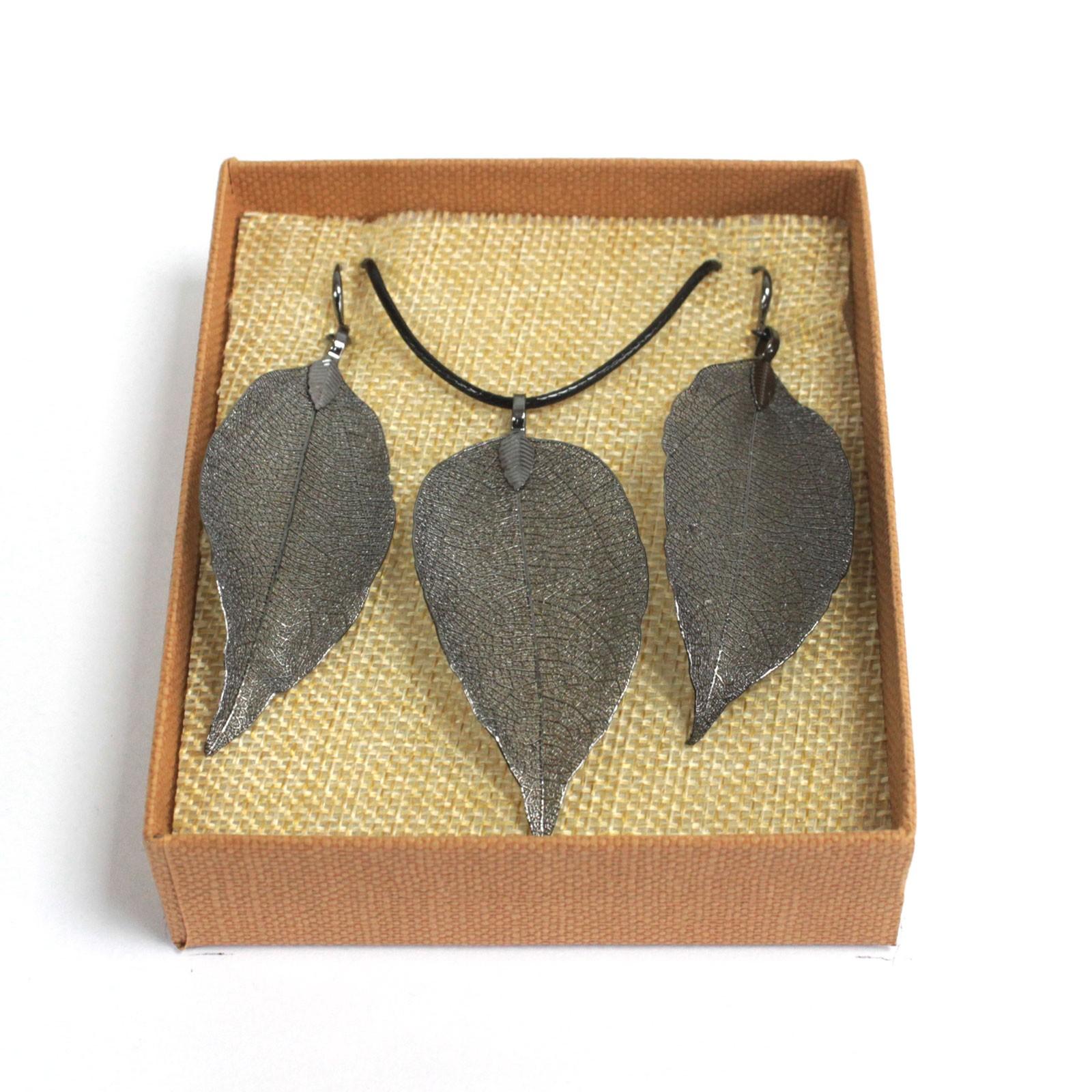 Necklace  Earring Set Bravery Leaf Pewter