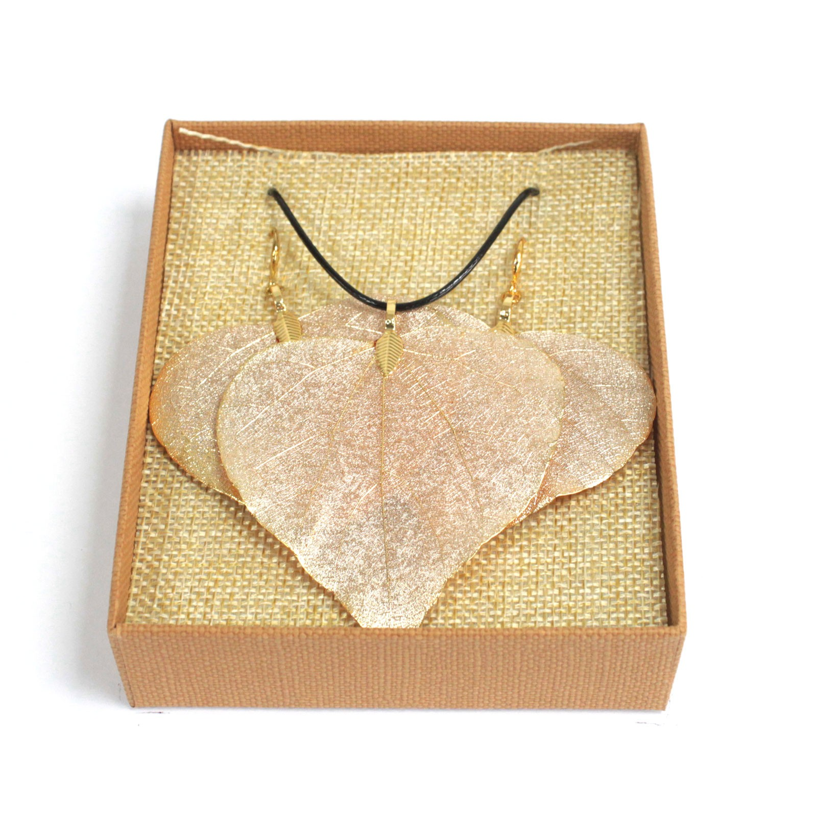 Necklace  Earring Set Heart Leaf Gold