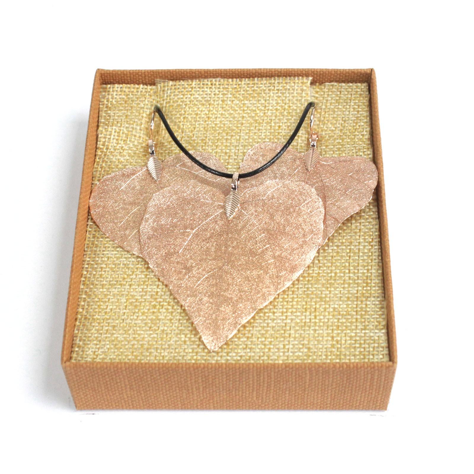 Necklace  Earring Set Heart Leaf Pink Gold