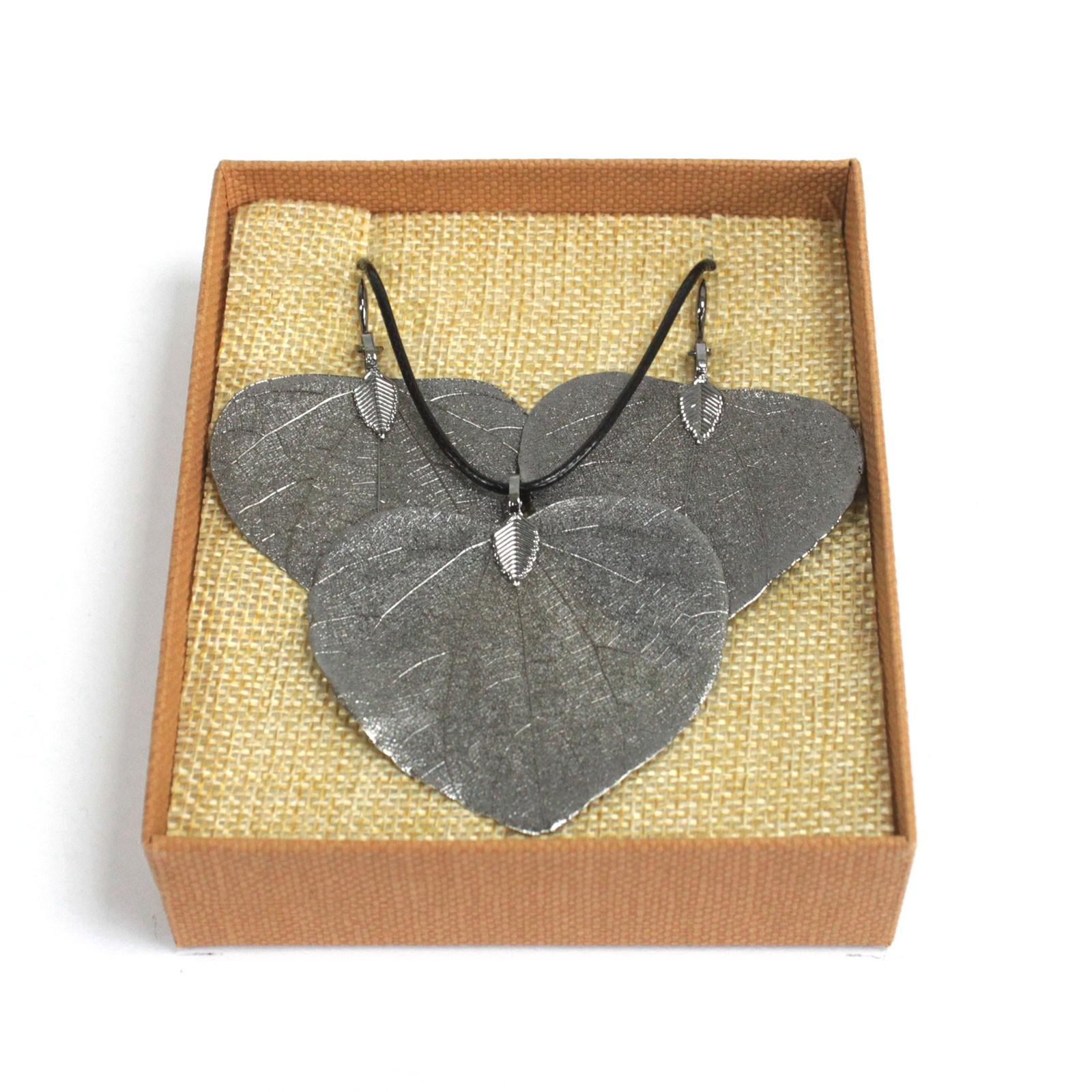 Necklace  Earring Set Heart Leaf Pewter