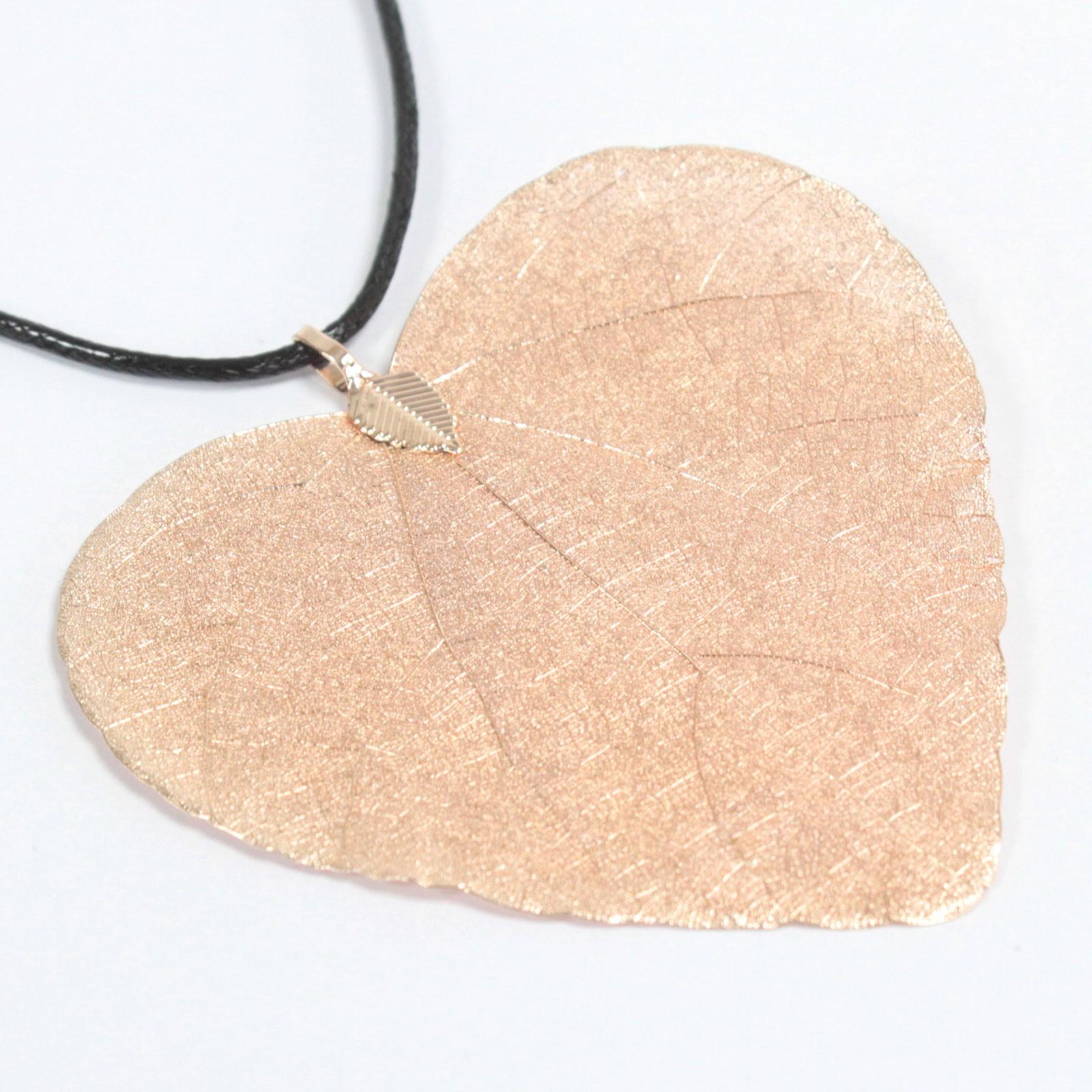 Necklace Heart Leaf Pink Gold