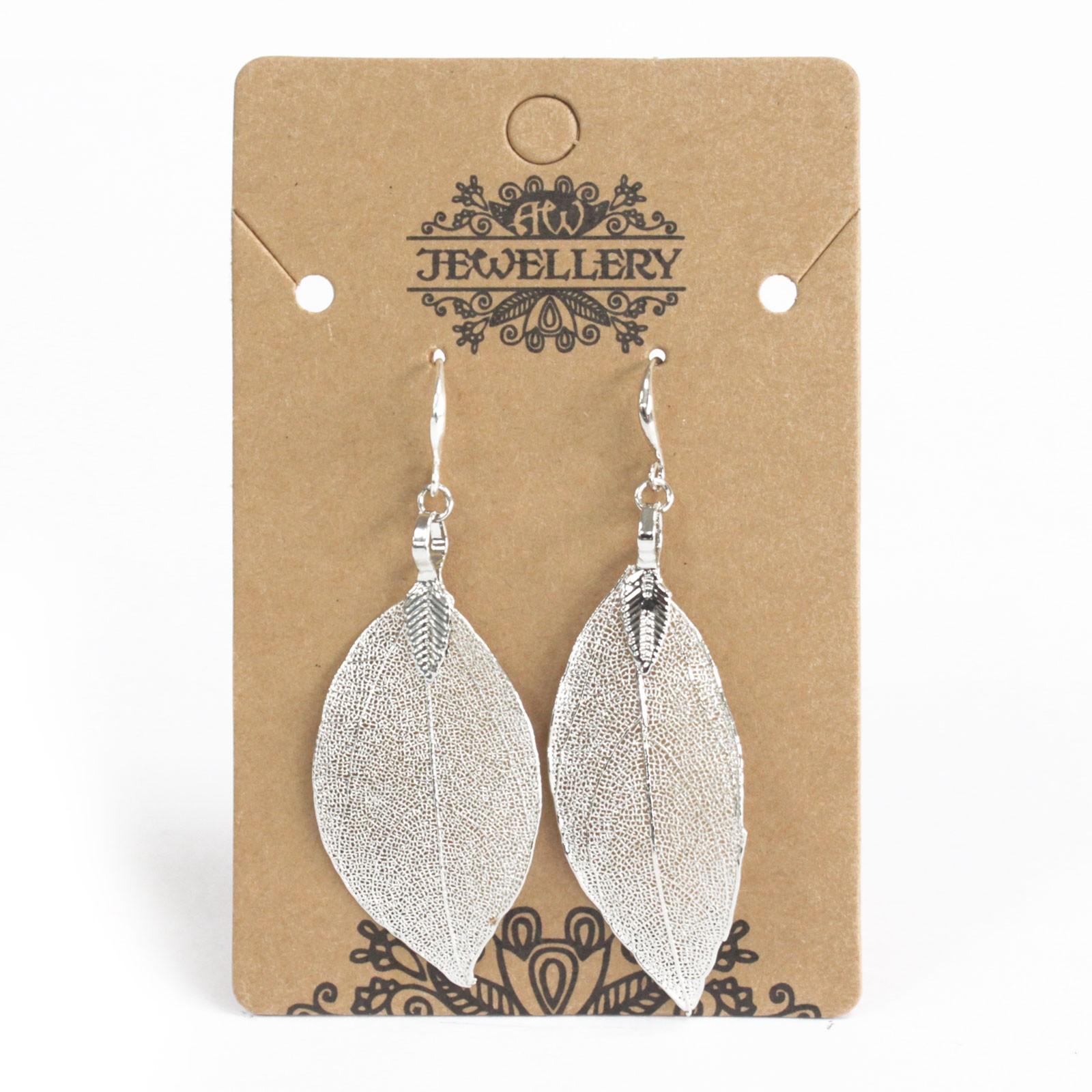 Earrings Bravery Leaf Silver