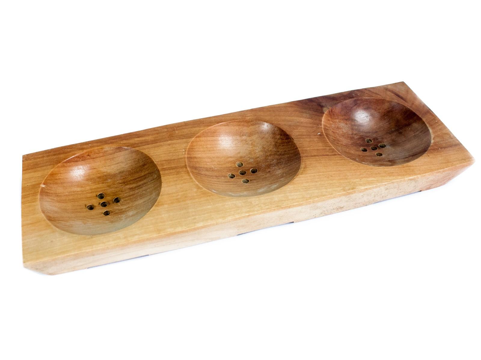 Three Bay Mahogany Soap Dish