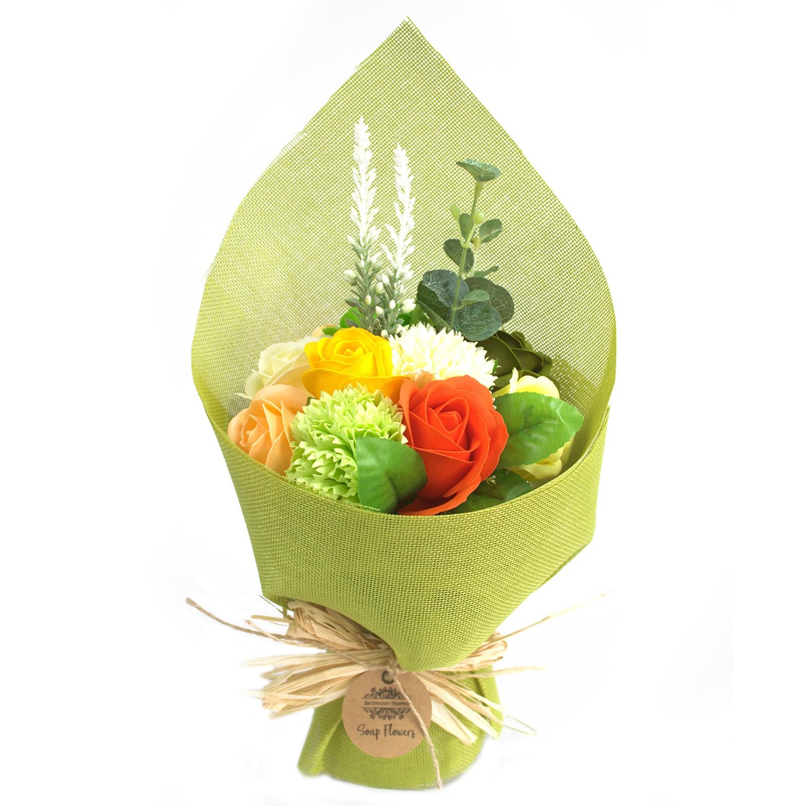 Standing Soap Flower Bouquet Green Yellow
