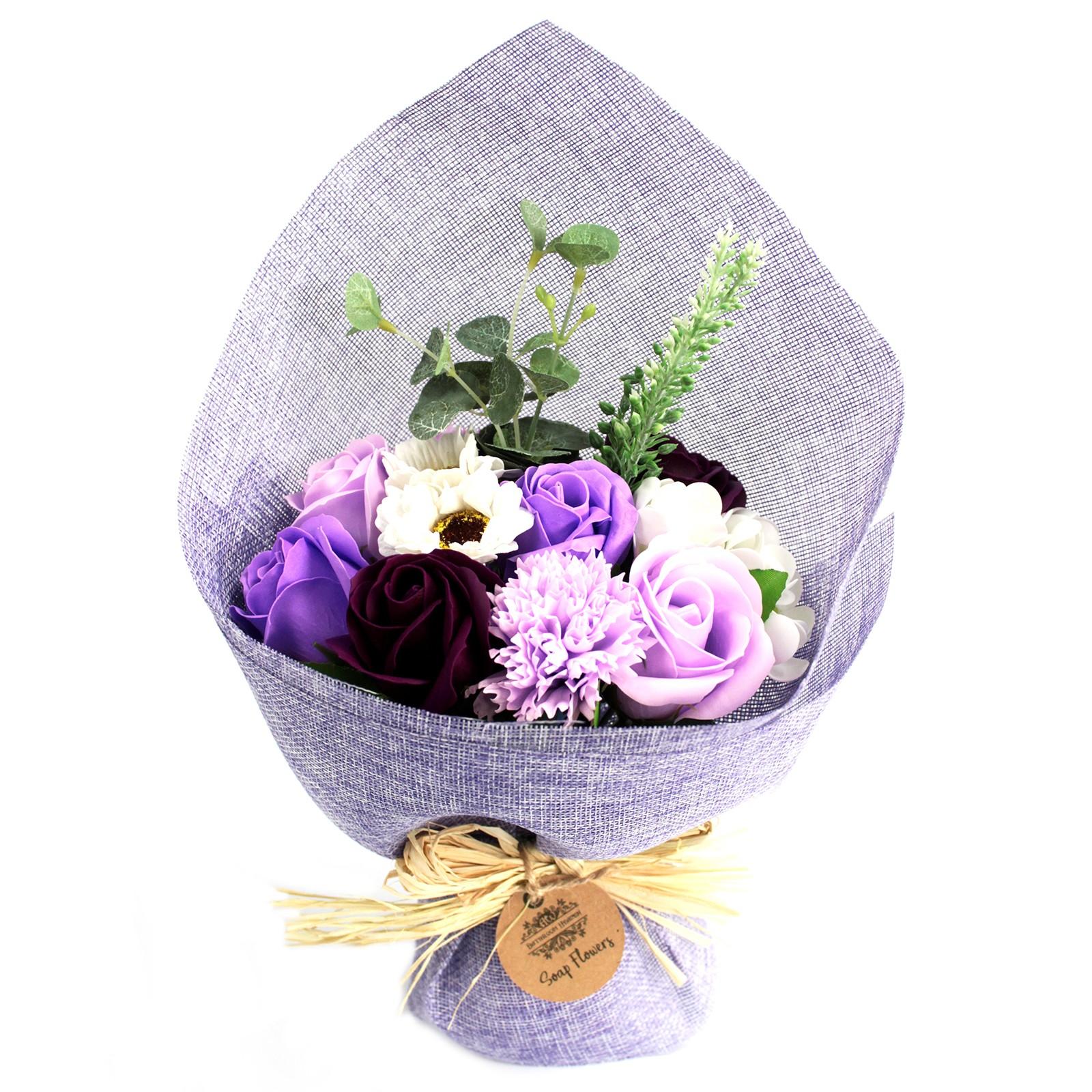 Standing Soap Flower Bouquet Purple