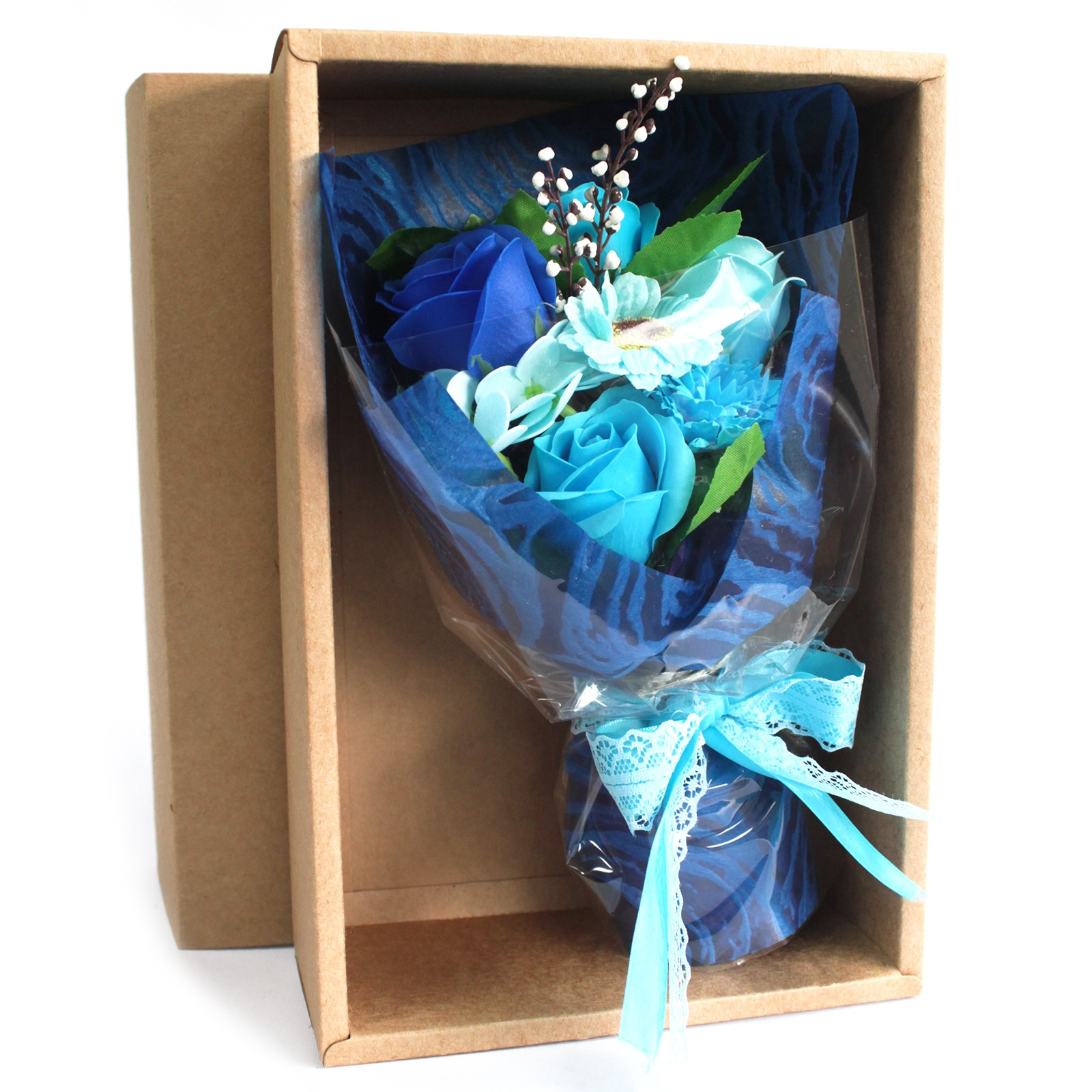 Boxed Hand Soap Flower Bouquet Blue