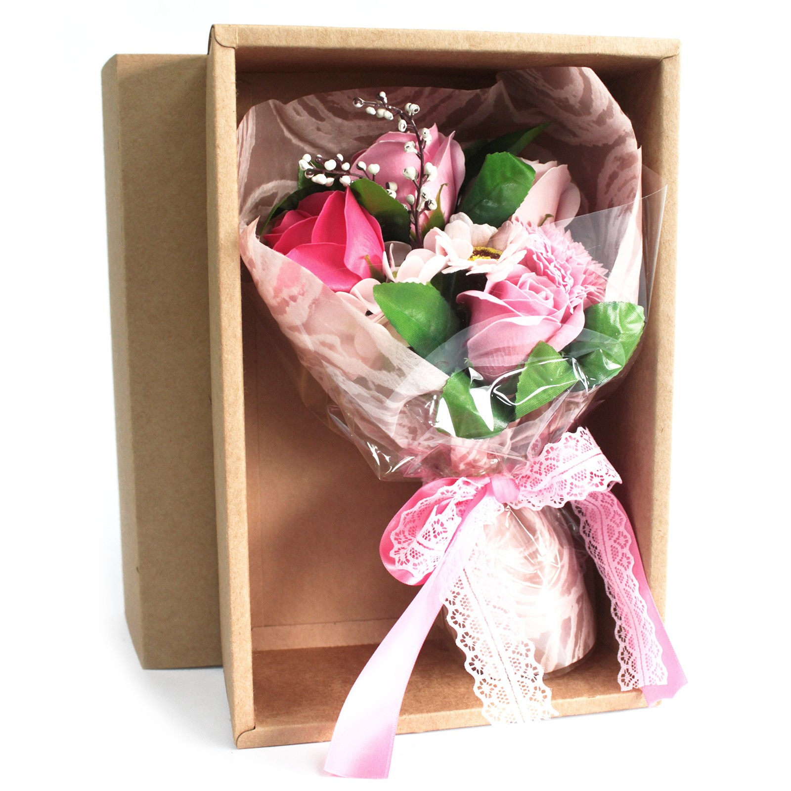 Boxed Hand Soap Flower Bouquet Pink