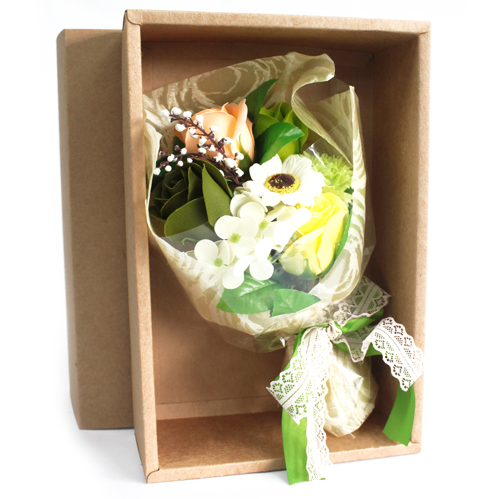 Boxed Hand Soap Flower Bouquet Greens