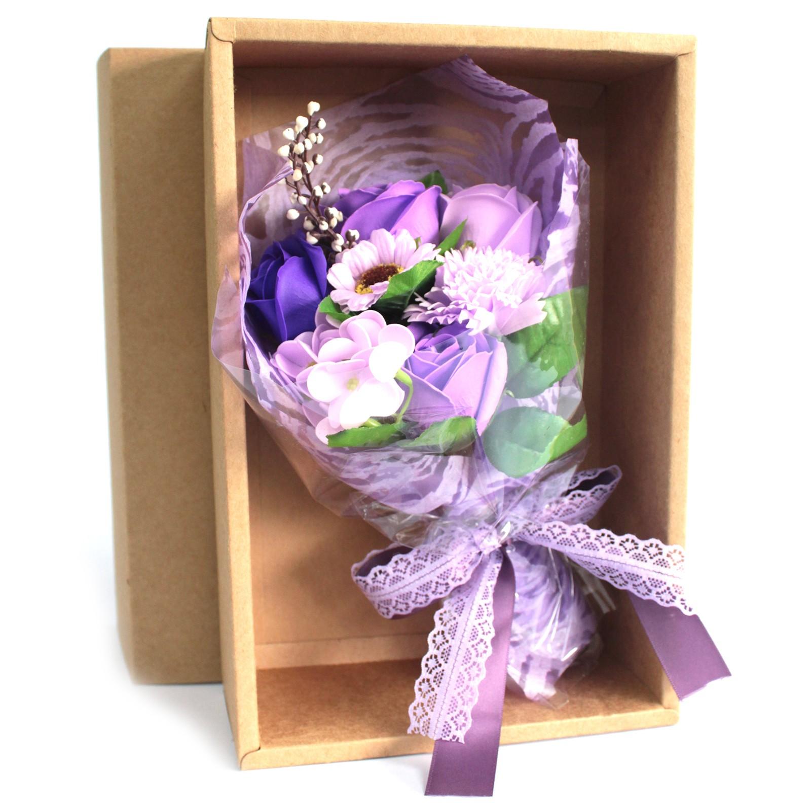 Boxed Hand Soap Flower Bouquet Purple