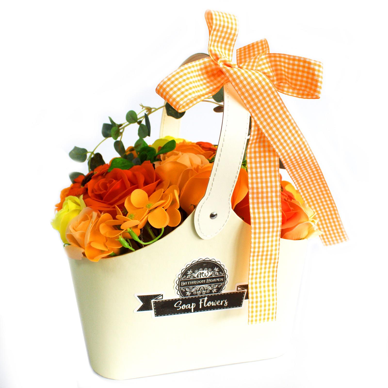 Basket Soap Flower Bouquet Orange