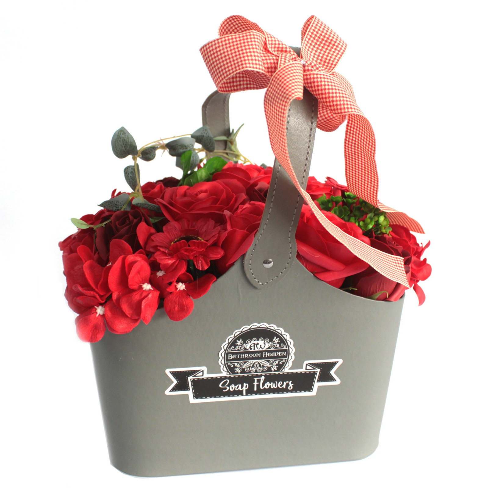 Basket Soap Flower Bouquet Red
