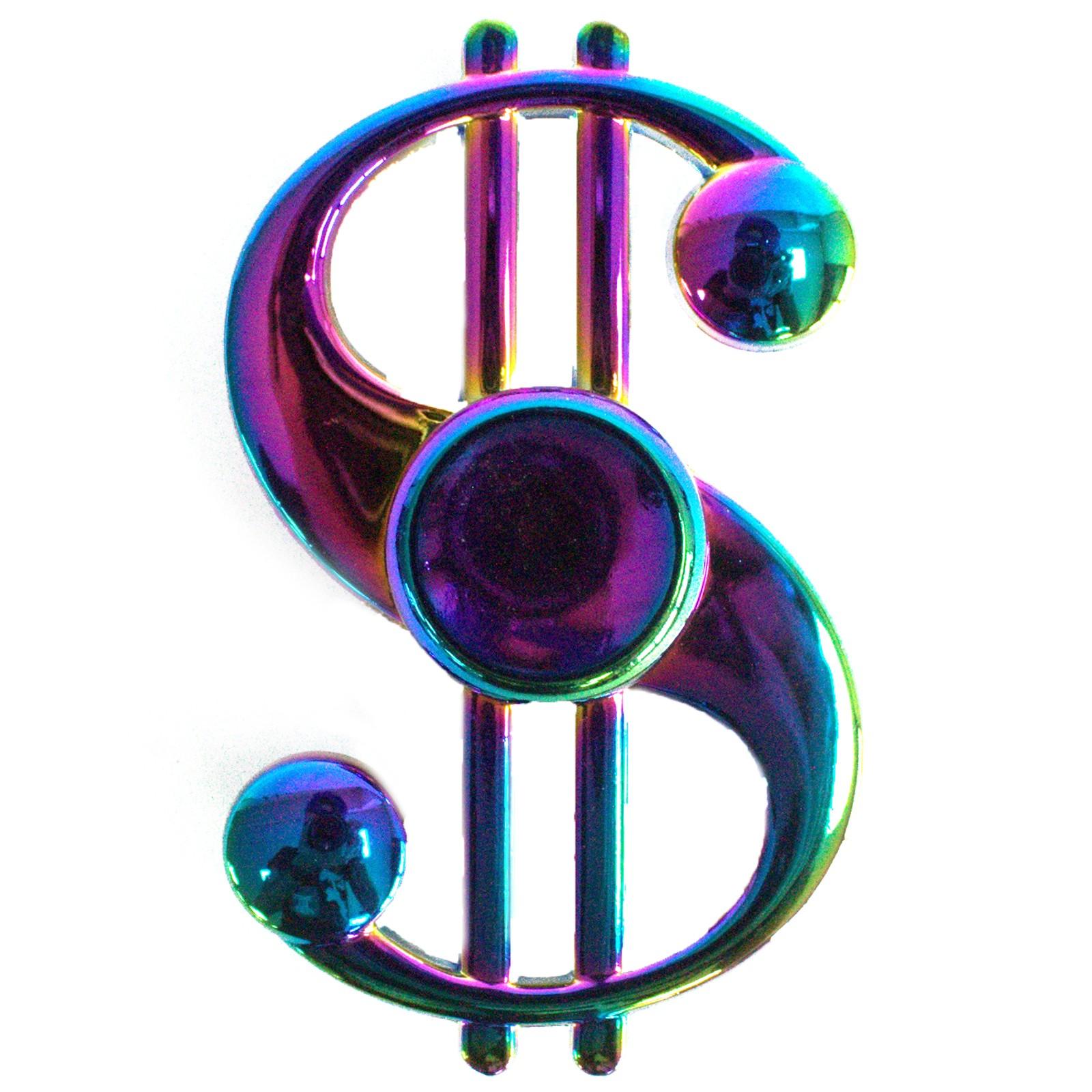 Metal Fidget Spinner Dollar Sign Rainbow