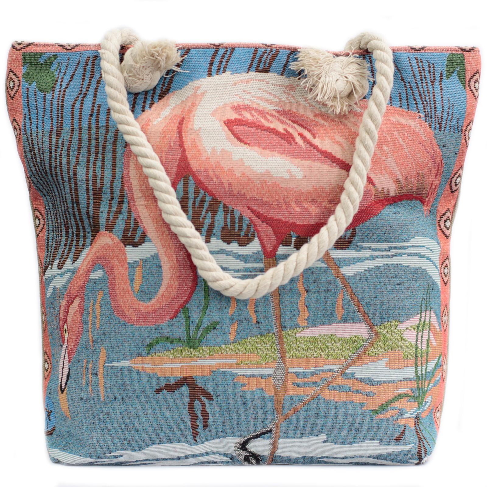 Rope Handle Bag Pink Flamingo