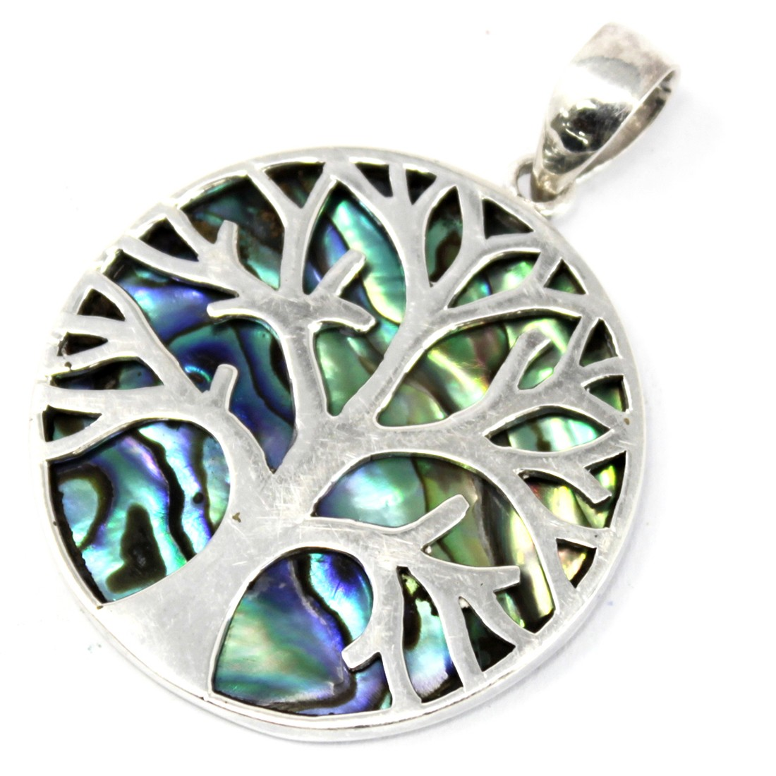 Tree of Life Silver Pendant 30mm Abalone