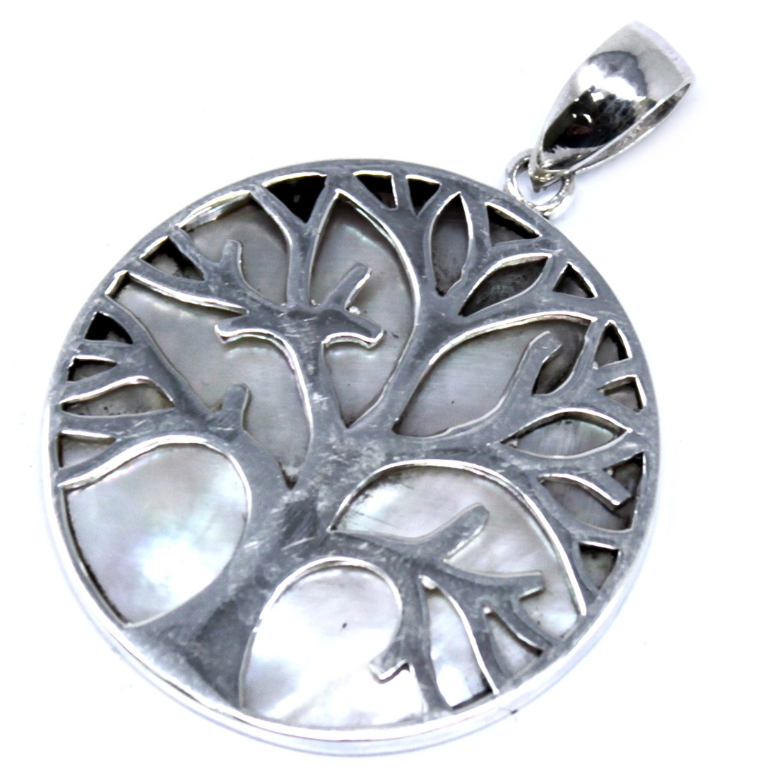 Tree of Life Silver Pendant 30mm Mother of Pearl