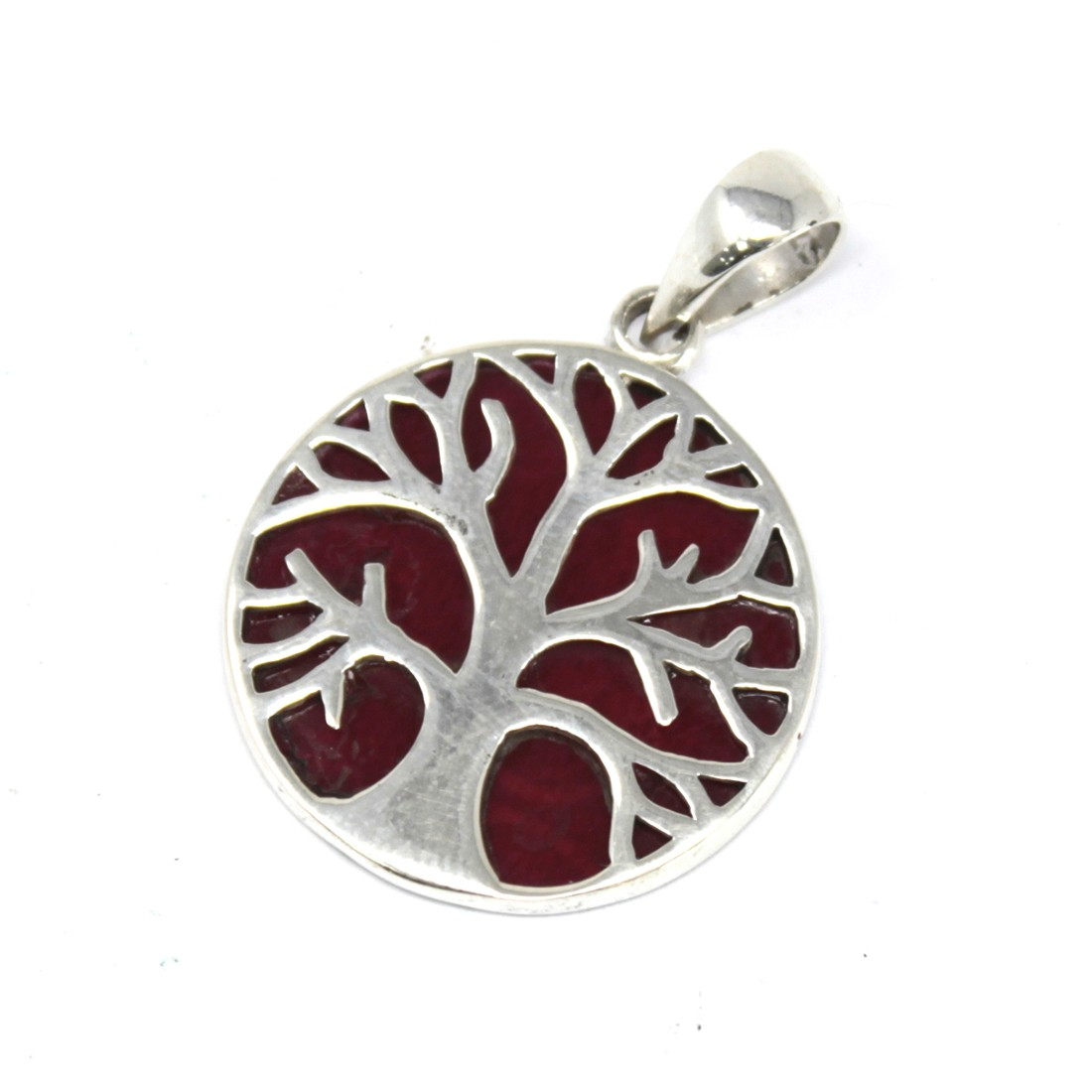 Tree of Life Silver Pendant 22mm Coral Effect