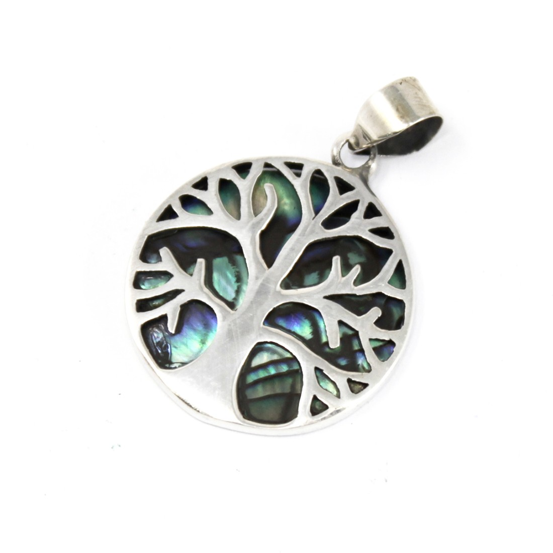 Tree of Life Silver Pendant 22mm Abalone