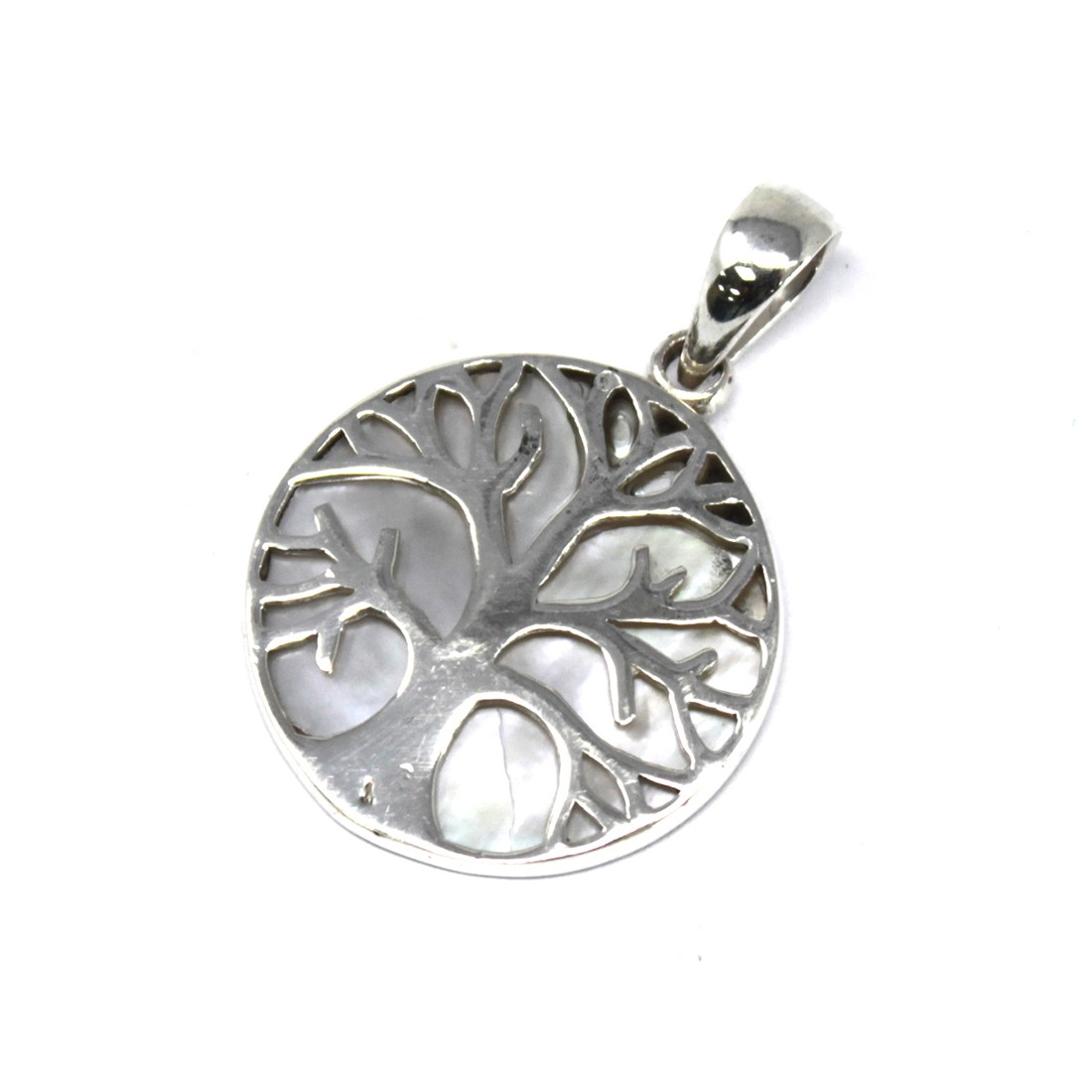 Tree of Life Silver Pendant 22mm Mother of Pearl