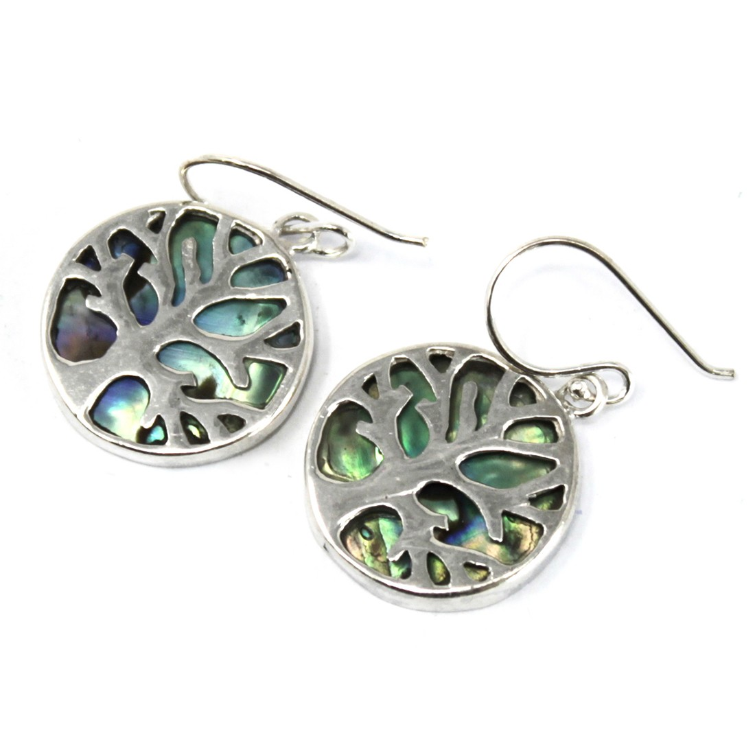 Tree of Life Silver Earrings 15mm Abalone
