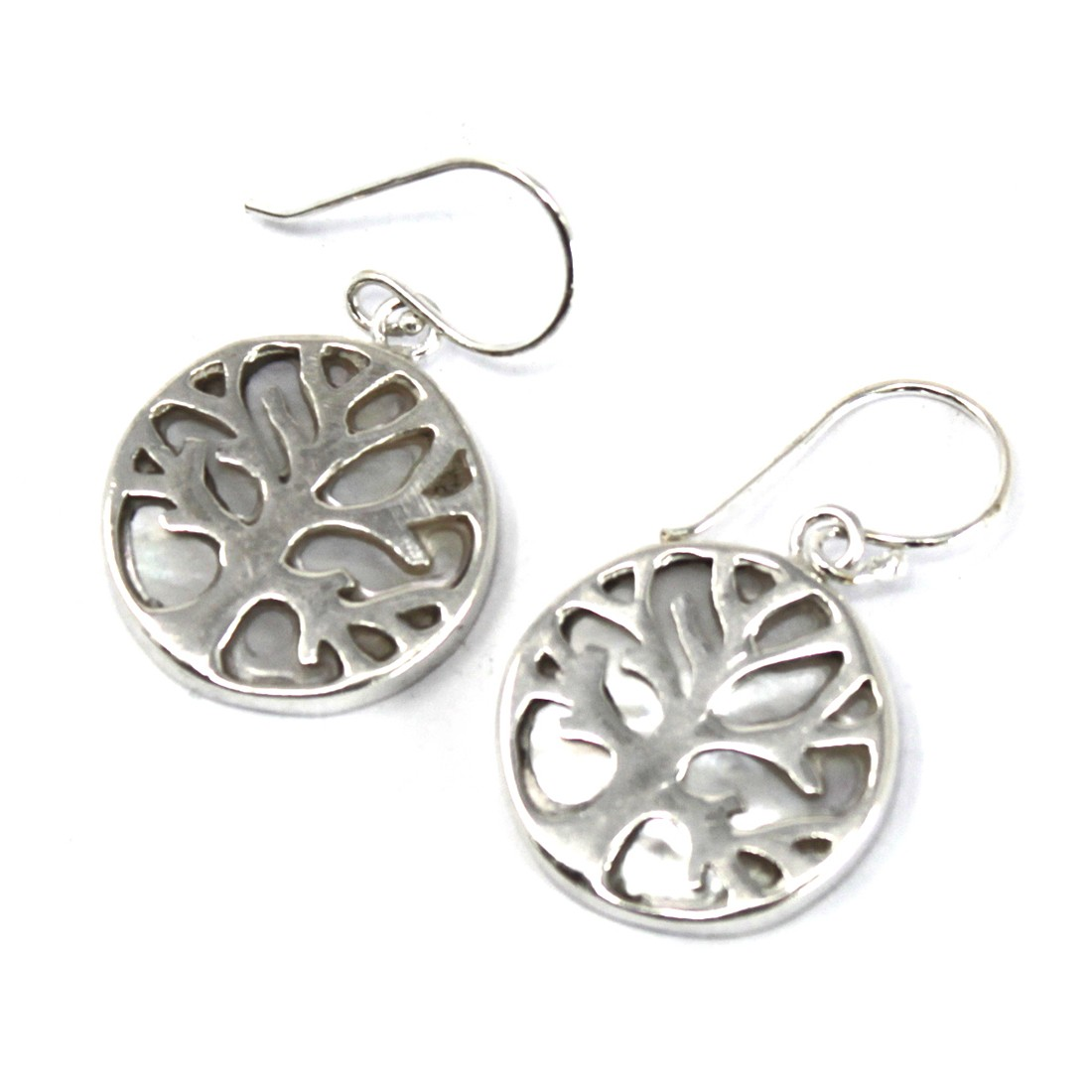 Tree of Life Silver Earrings 15mm Mother of Pearl