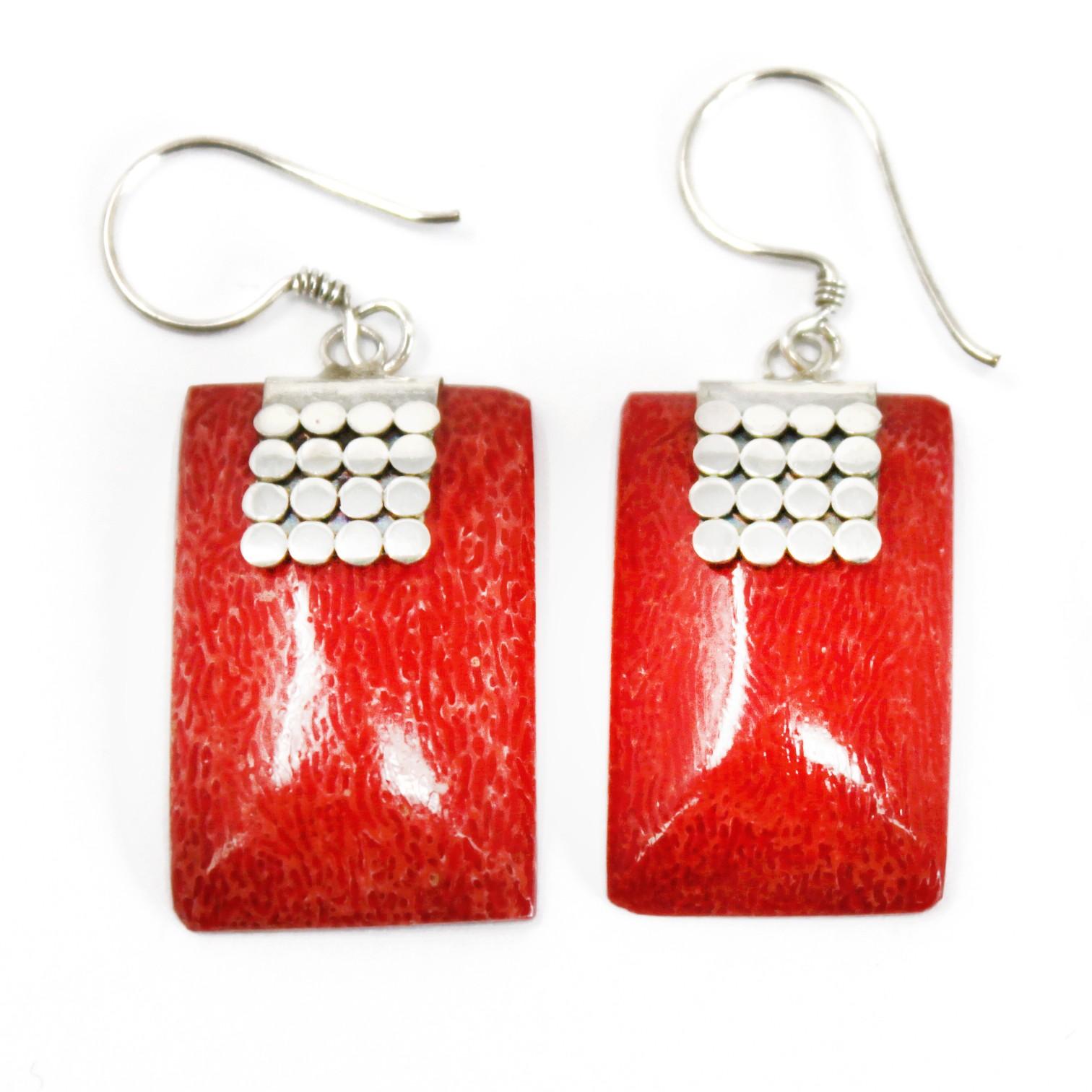 Coral Style Silver Earrings SQ Mini Discs