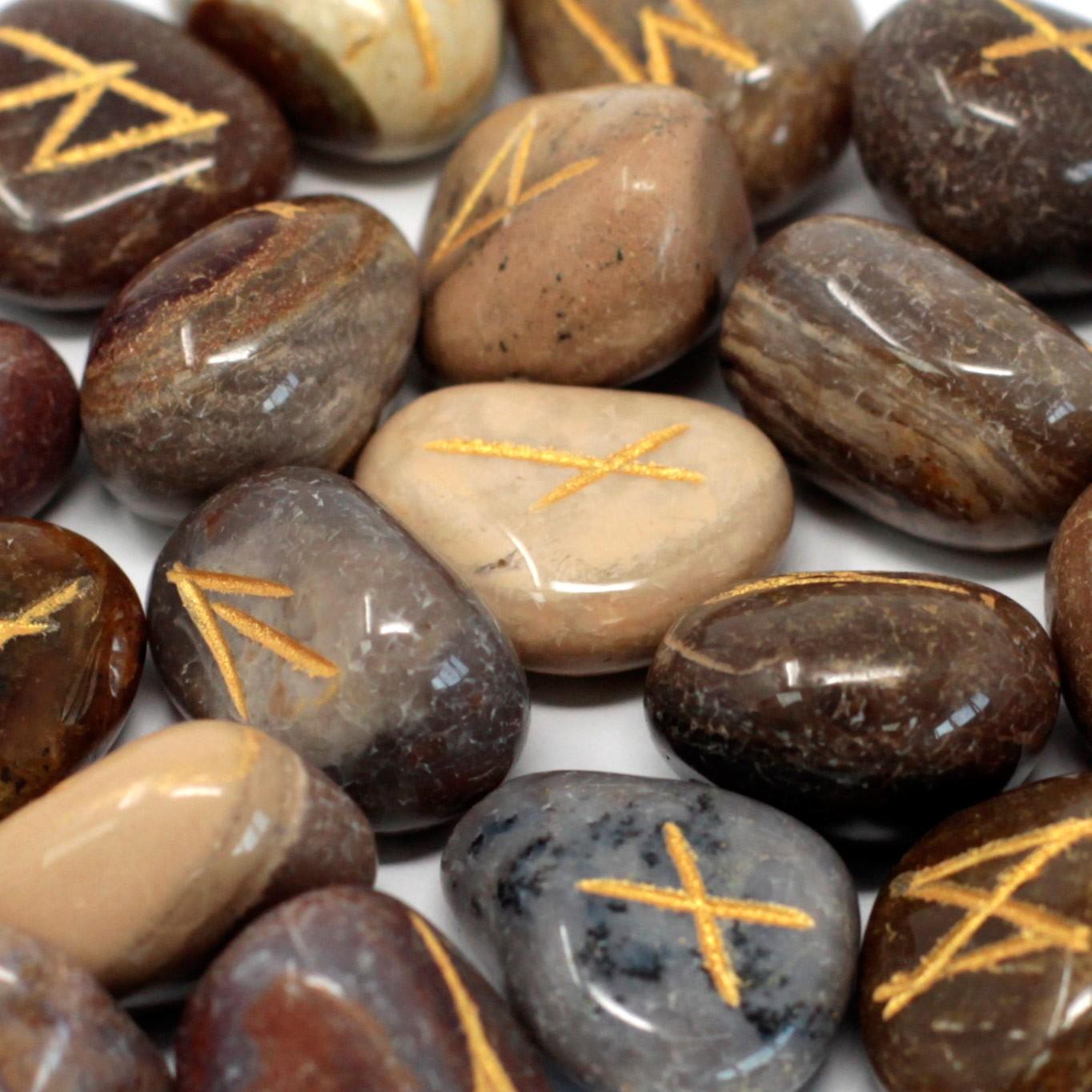 Runes Stone Set in Pouch Fancy Jasper