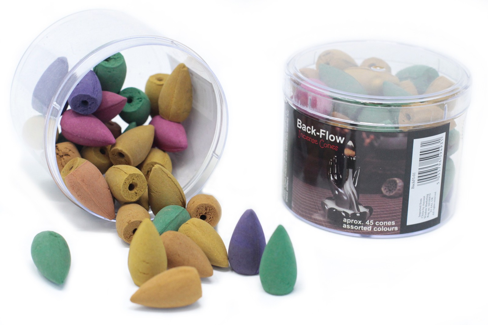 Tub of Assorted Back Flow Incense Cones aprox 45