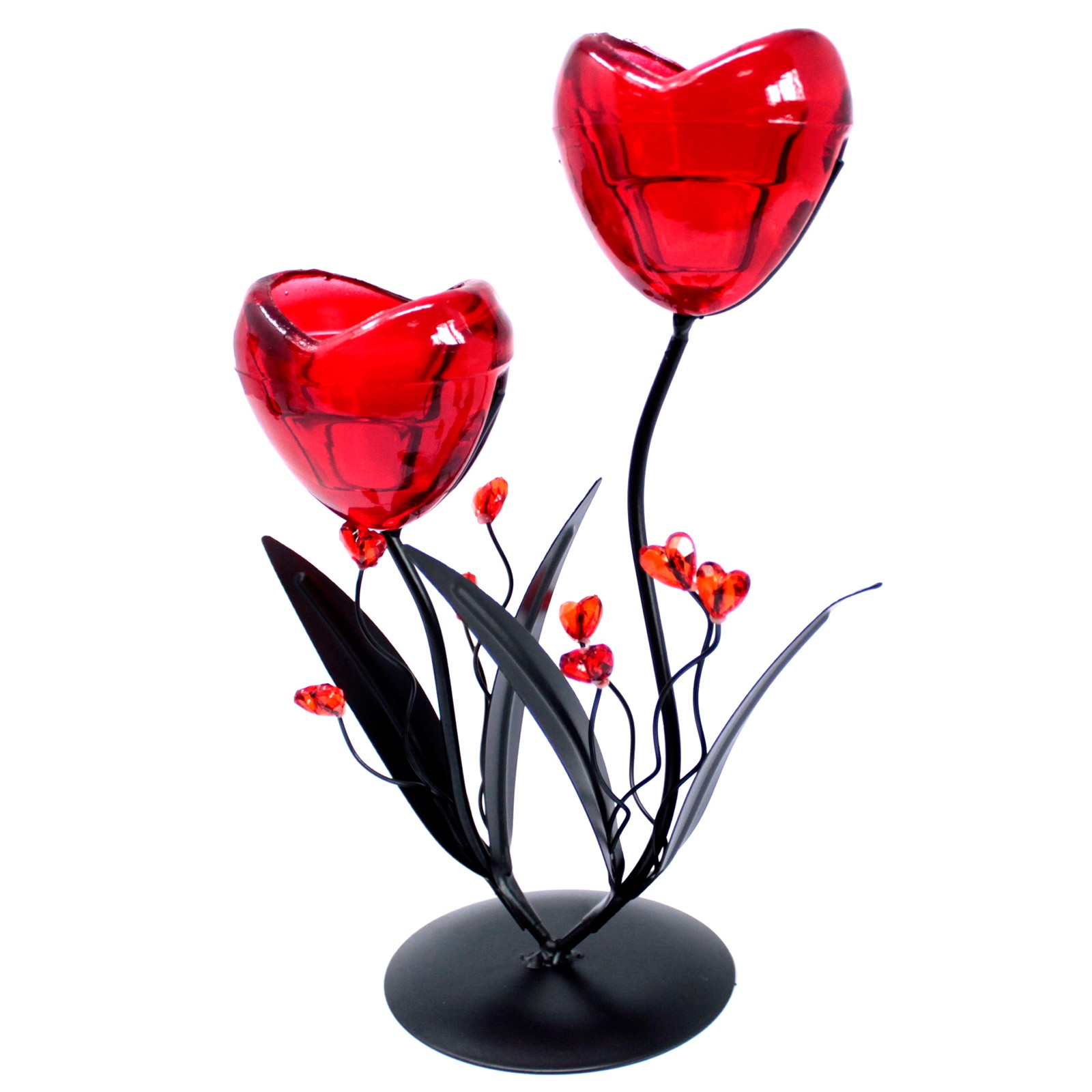 Romantic Candleholder Twin Hearts Flower