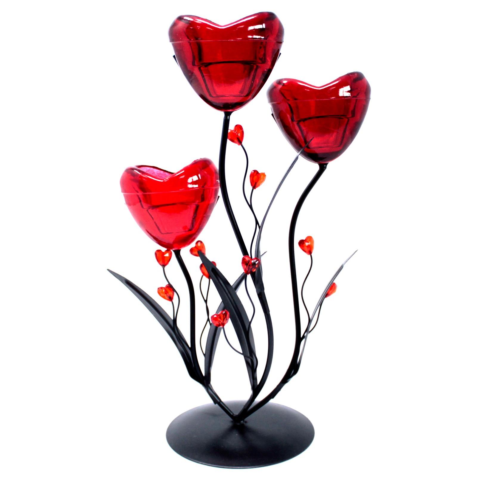 Romantic Candleholder Triple Hearts Flower