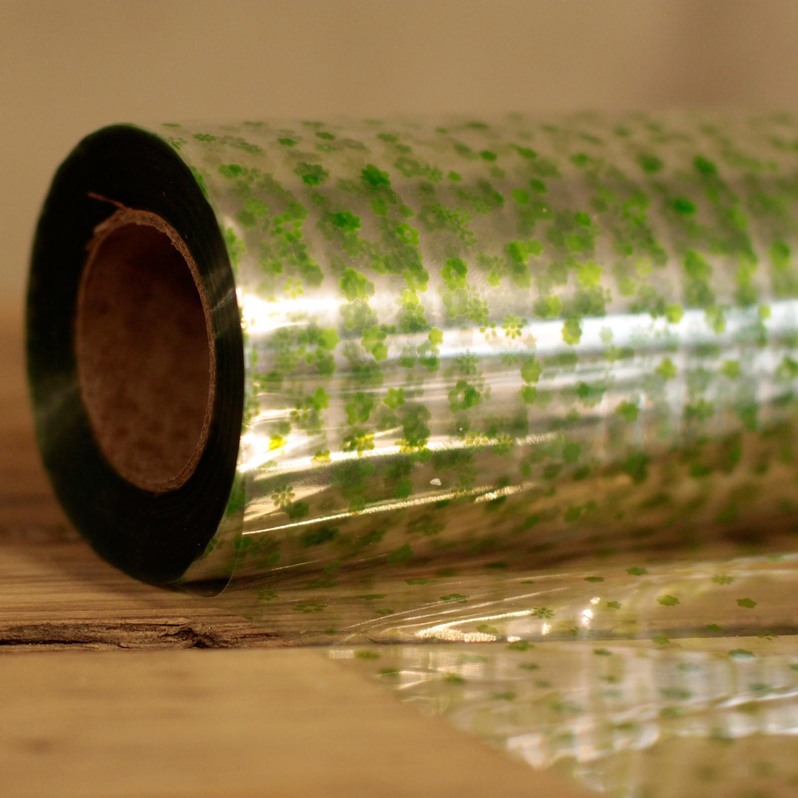 Green Flower Pattern Film Wrap 80cm x 100m