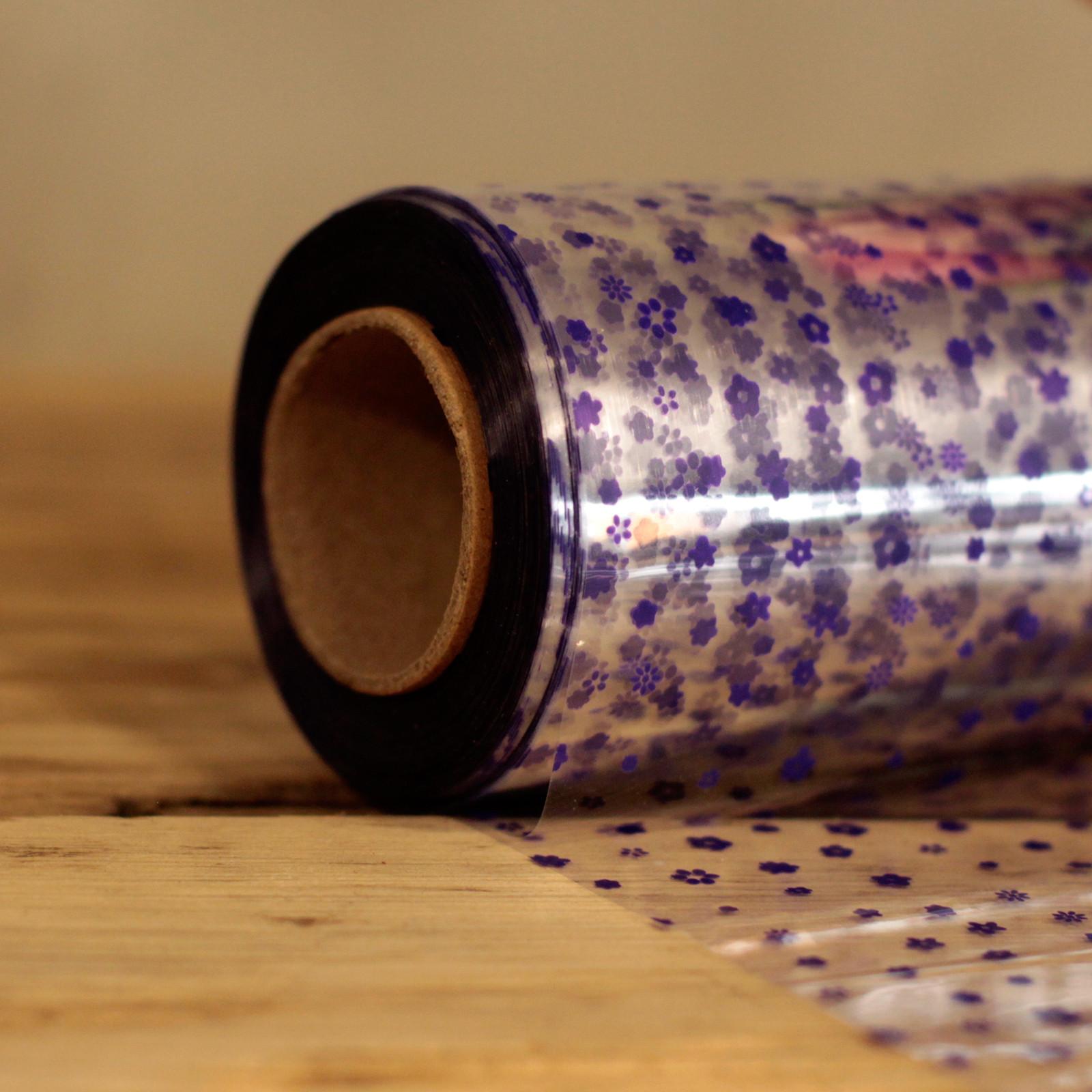 Purple Flower Pattern Film Wrap 80cm x 100m
