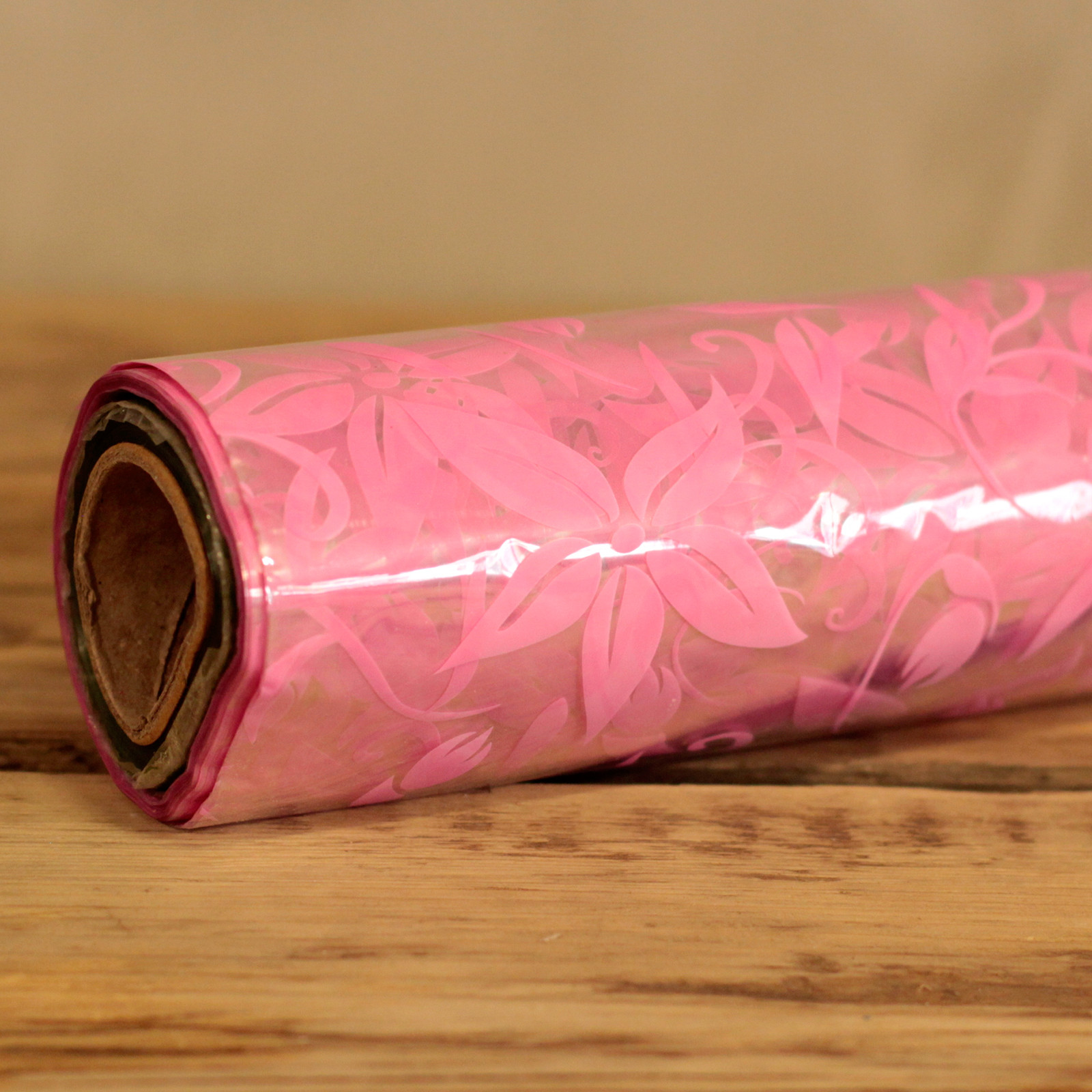 Pink Large Floral Pattern Film Wrap 80cm x 100m