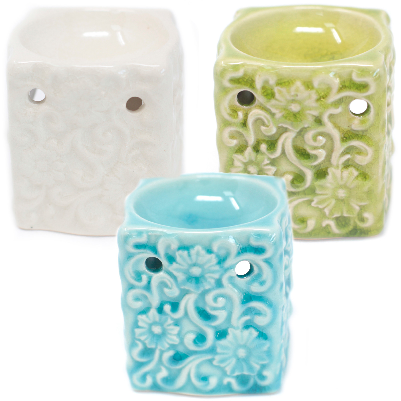 Classic Small Square Floral Oil Burners aast