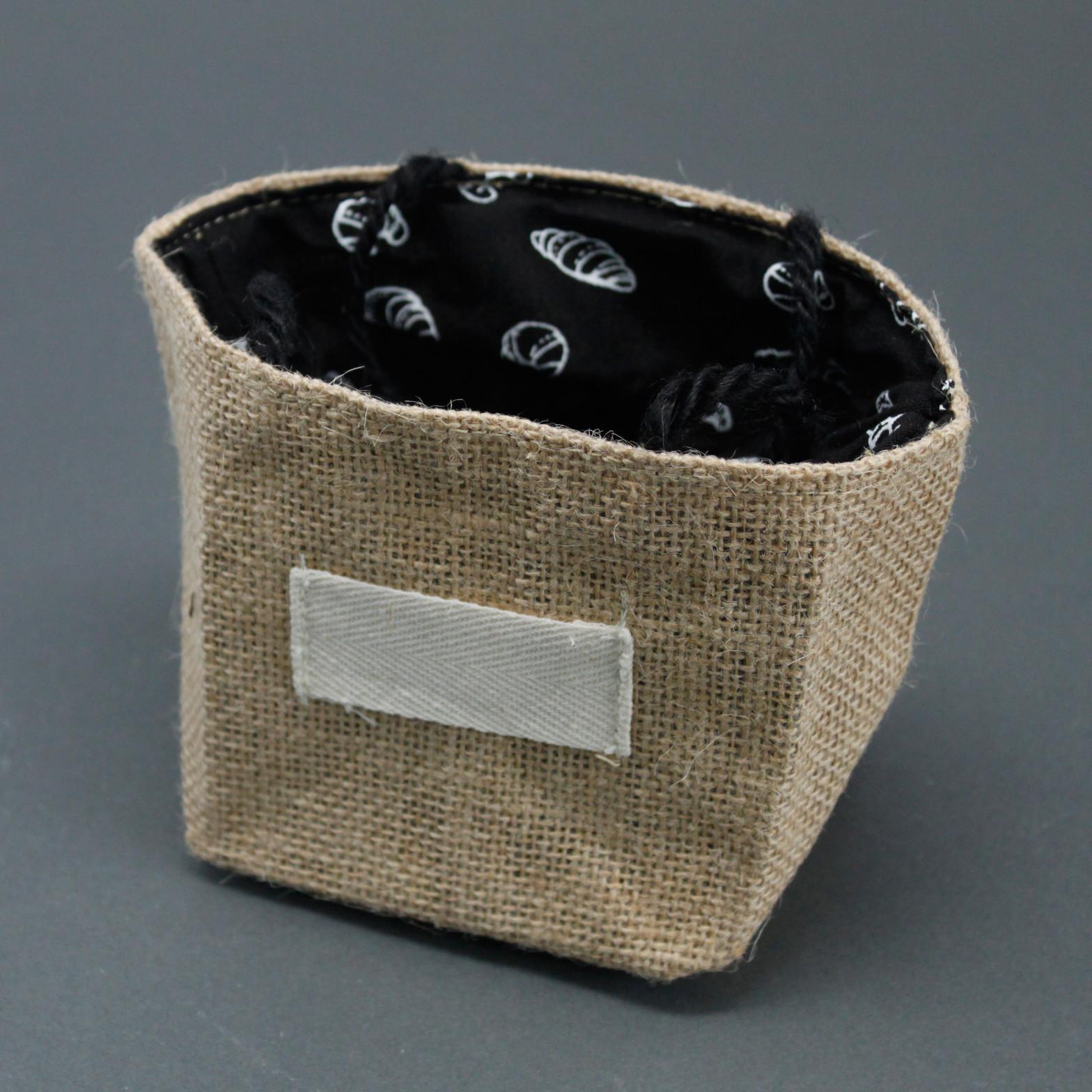 Natural Jute Cotton Gift Bag Black Lining Medium