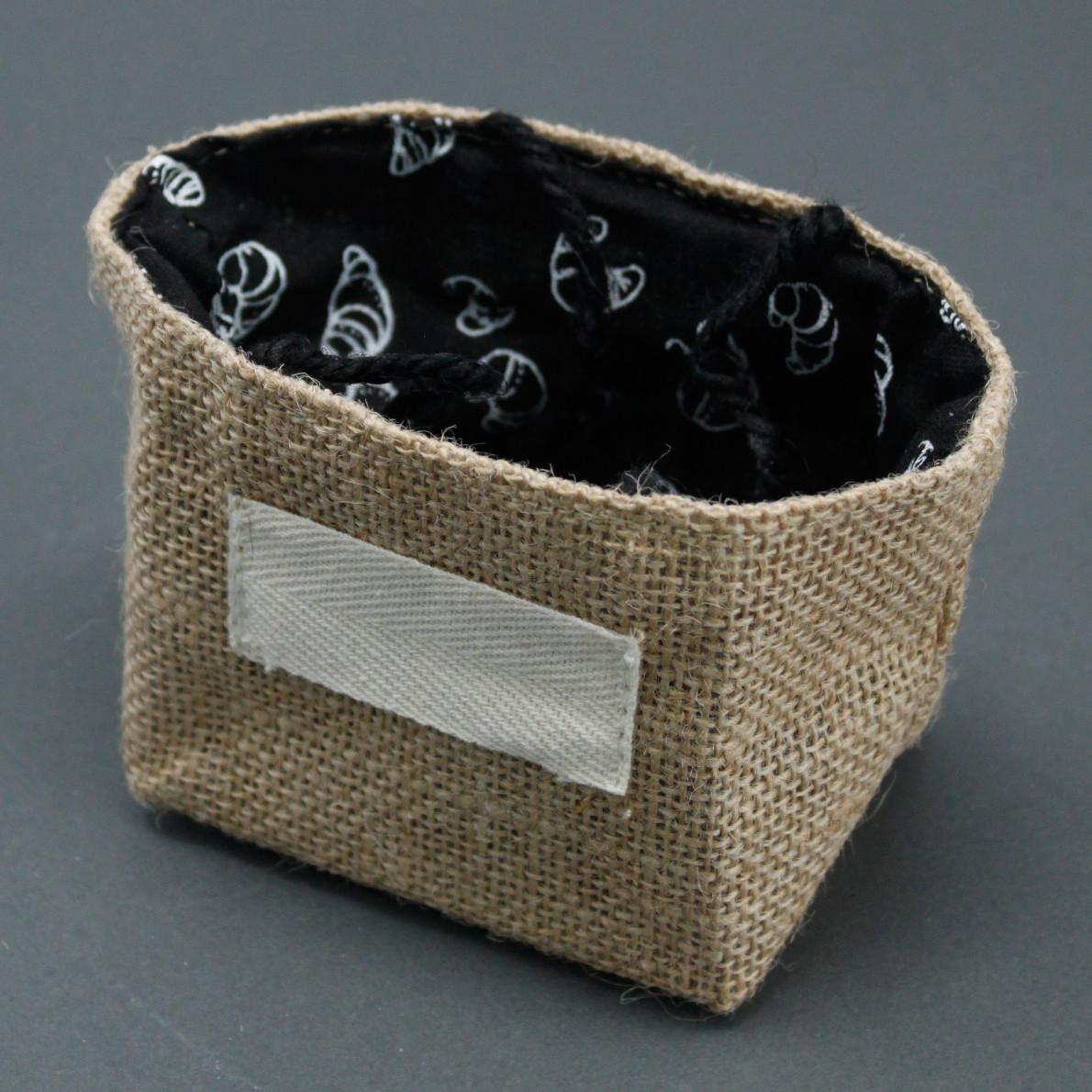 Natural Jute Cotton Gift Bag Black Lining Small