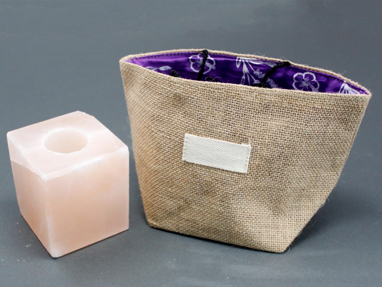 Natural Jute Cotton Gift Bag Lavender Lining Large