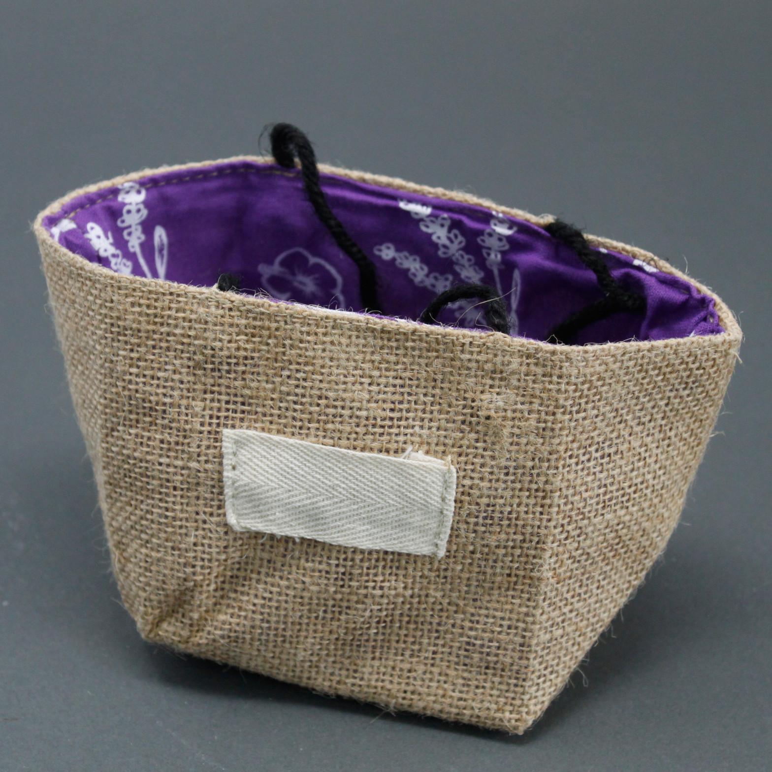 Natural Jute Cotton Gift Bag Lavender Lining Medium