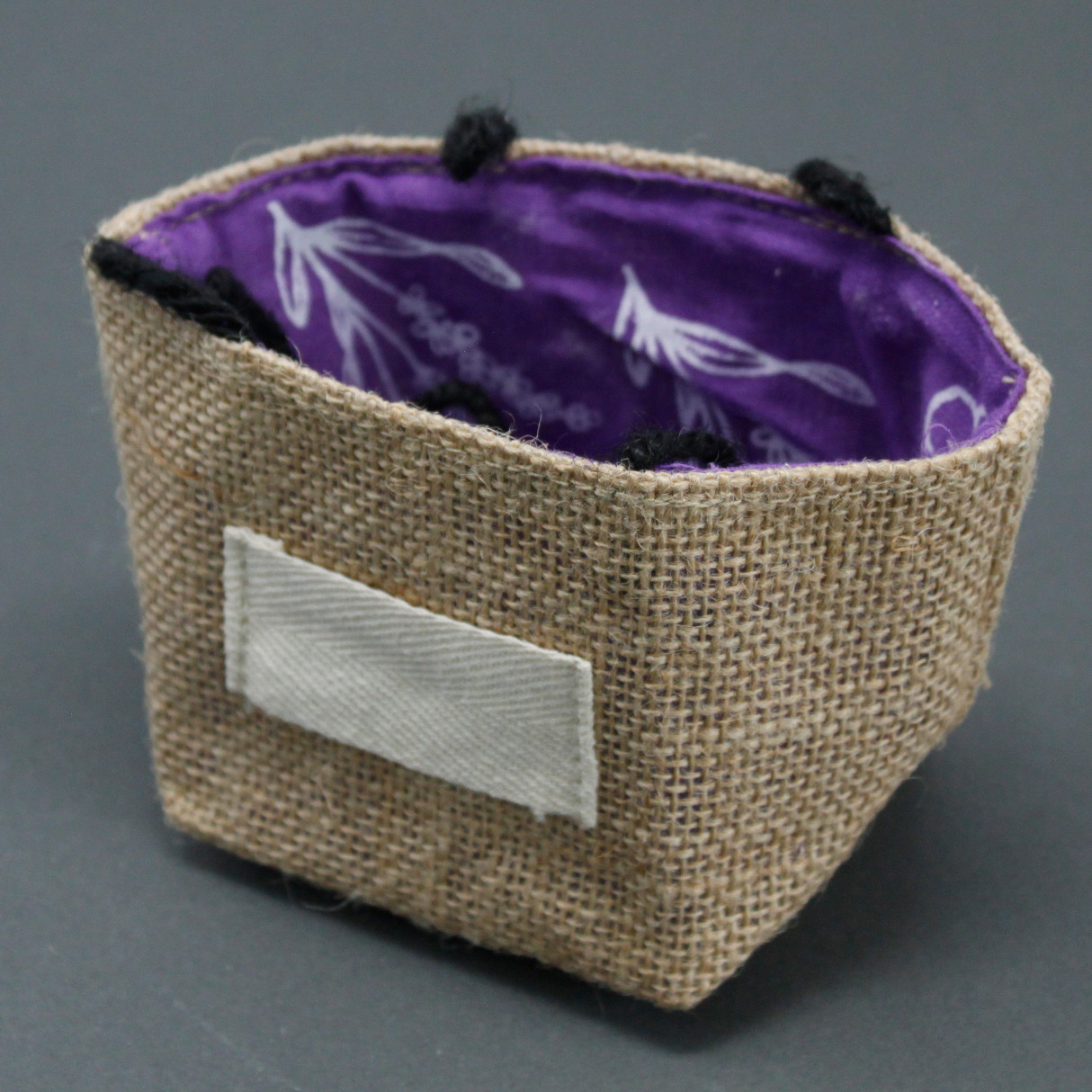 Natural Jute Cotton Gift Bag Lavender Lining Small