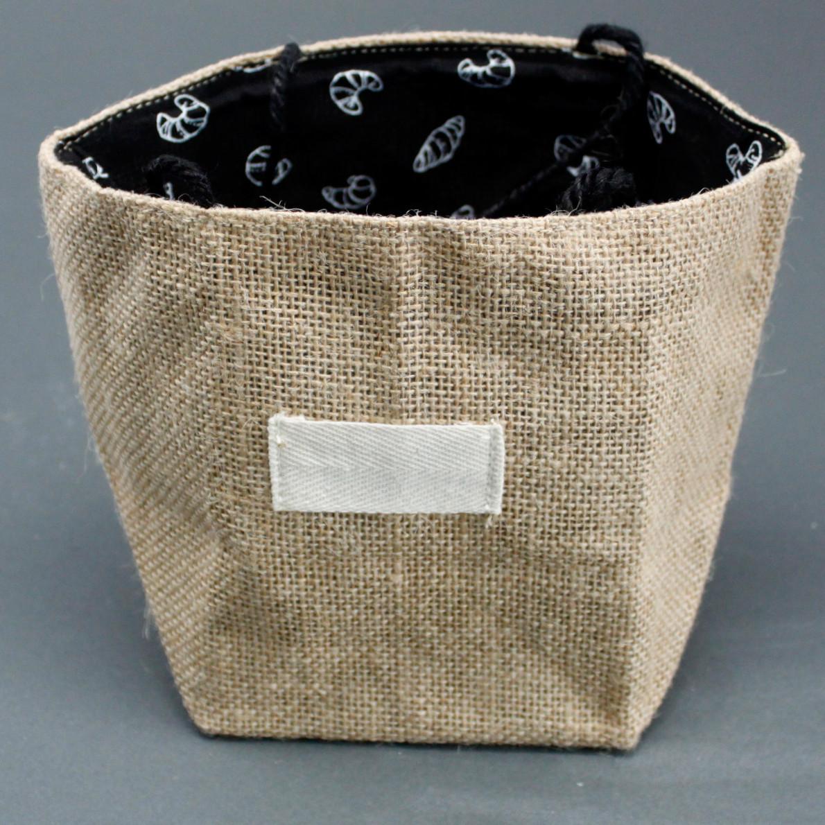 Natural Jute Cotton Gift Bag Black Lining Large