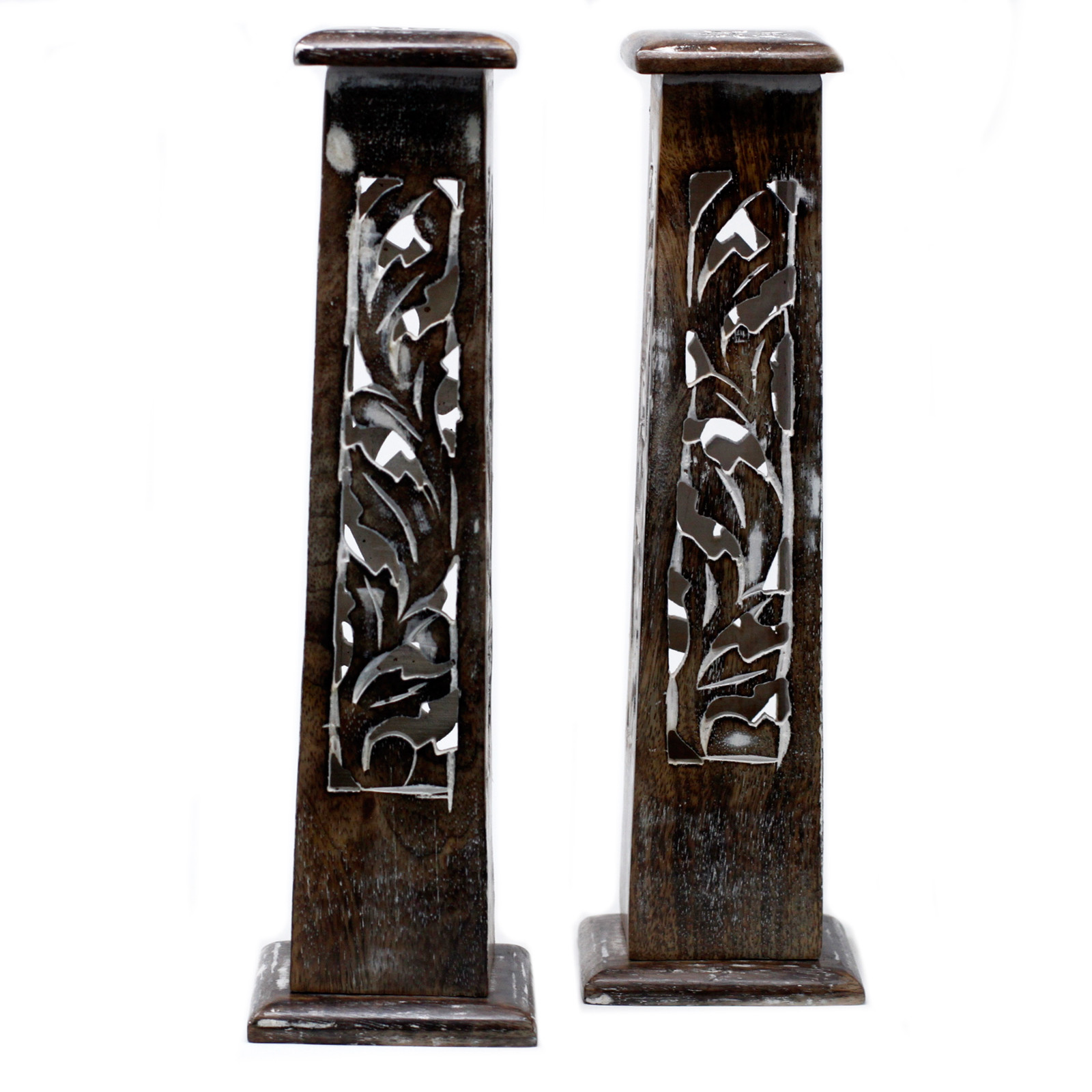 Tapered Incense Tower Washed Des2 Mango Wood