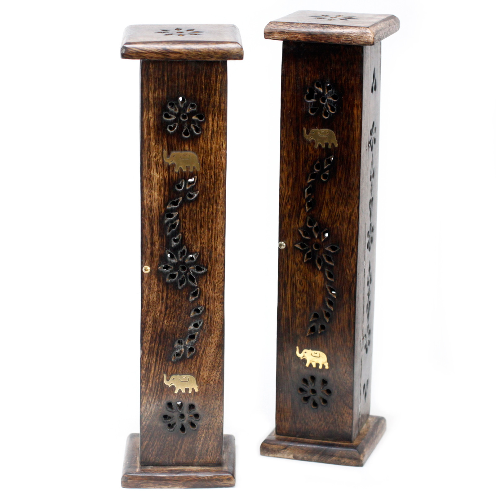 Square Incense Tower Brass inlay Mango Wood
